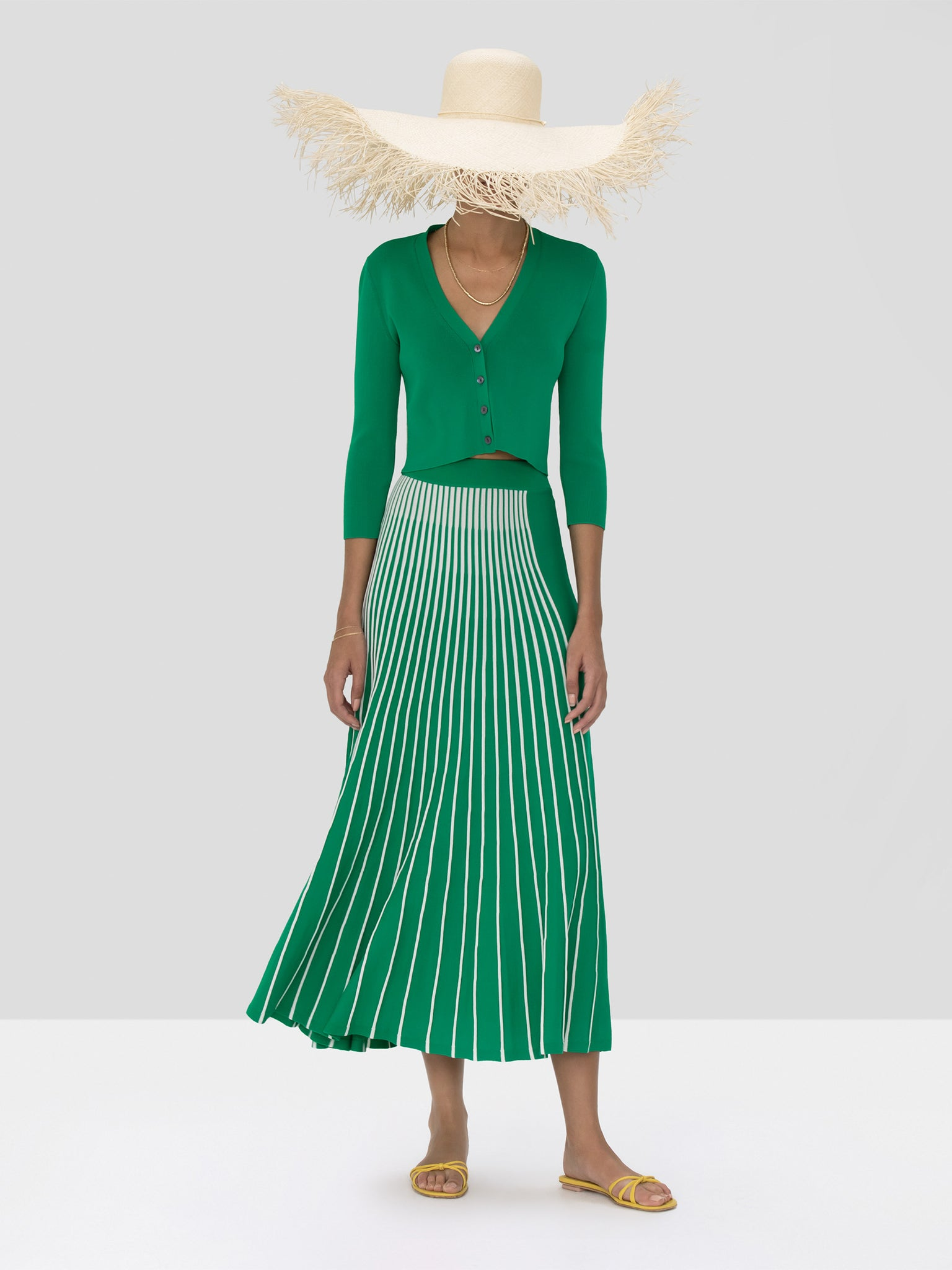 Alexis Petal Cardigan in Green and Vani Skirt in Green and White Stripes from Spring Summer 2020