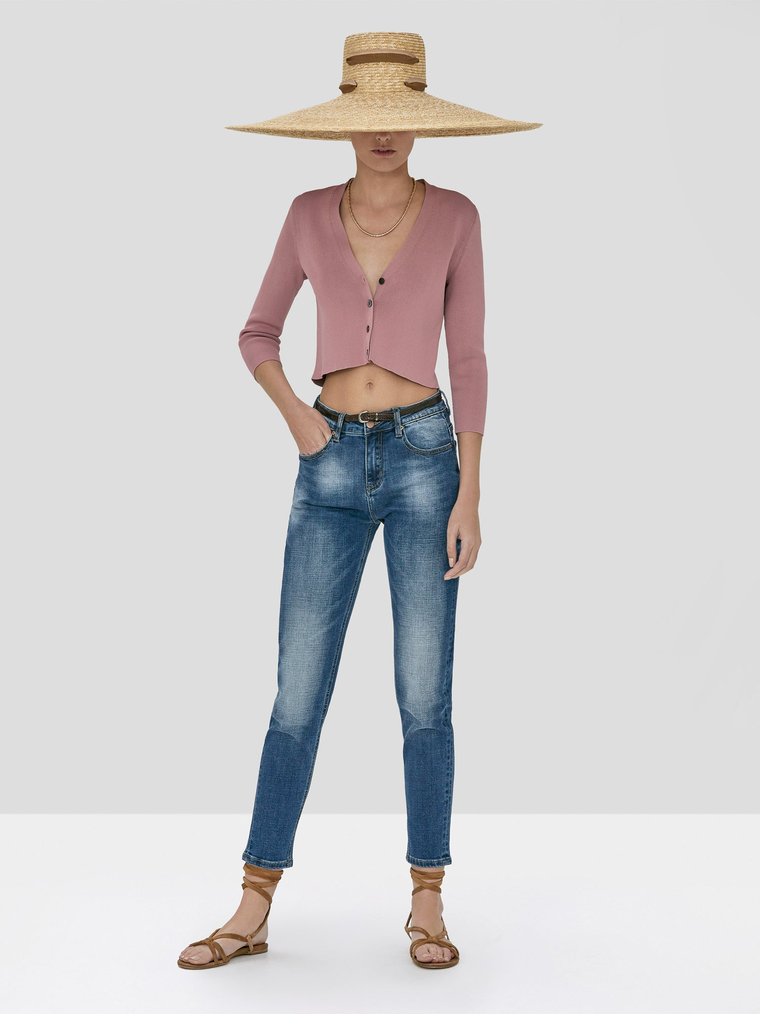 Alexis Petal Cardigan in Rose and Holston Denim Pant in Indigo Denim from Spring Summer 2020