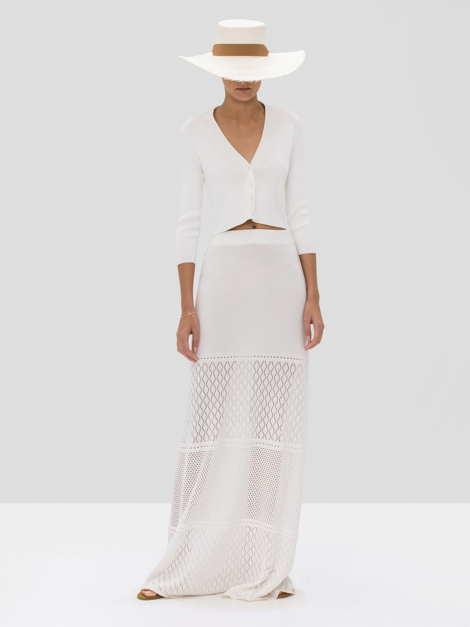 Alexis Petal Cardigan in White and Ecco Skirt in White from the Spring Summer 2020 Collection