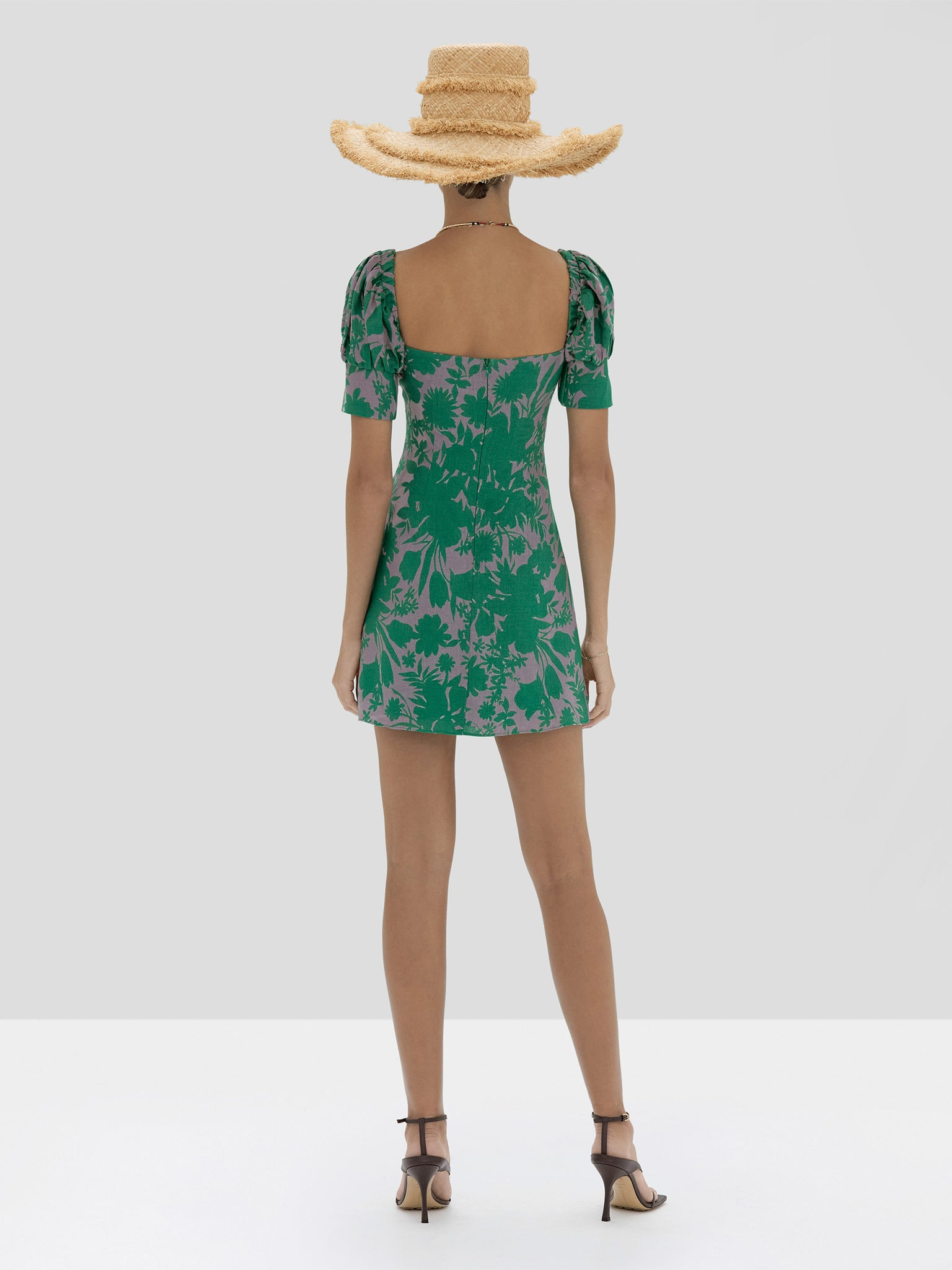 The Pilou Dress in Emerald Botanical from the Spring Summer 2020 - Rear View