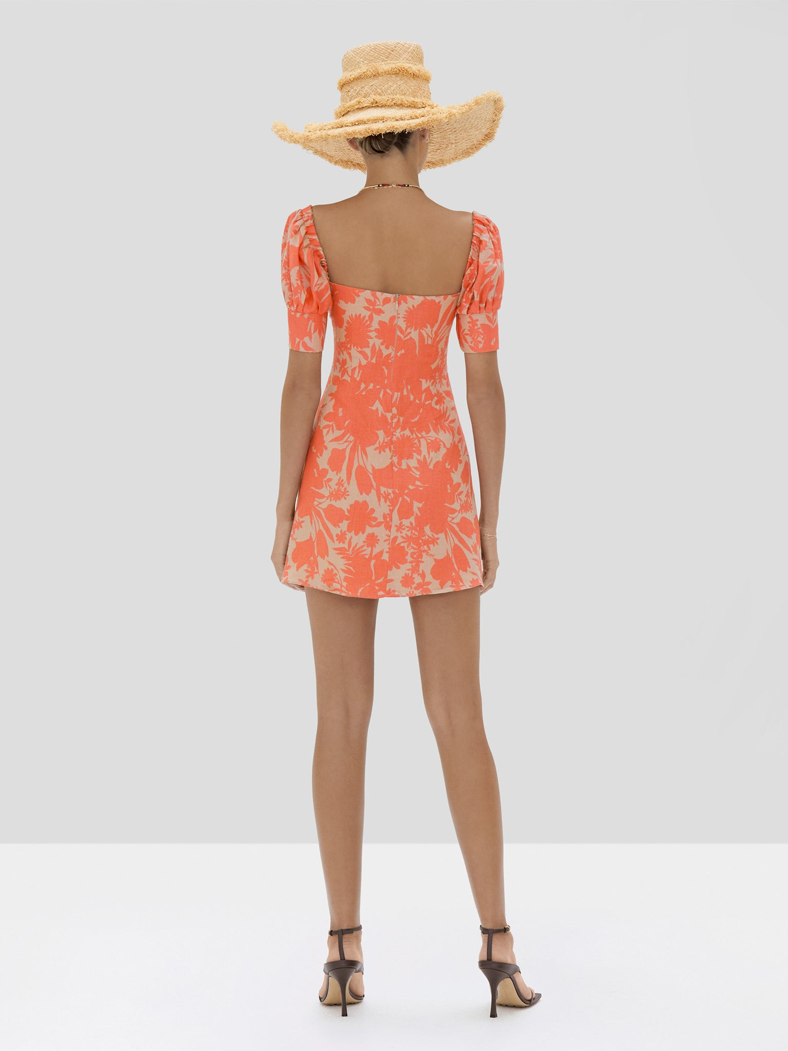 The Pilou Dress in Sand Botanical from the Spring Summer 2020 Ready To Wear Collection. - Rear View