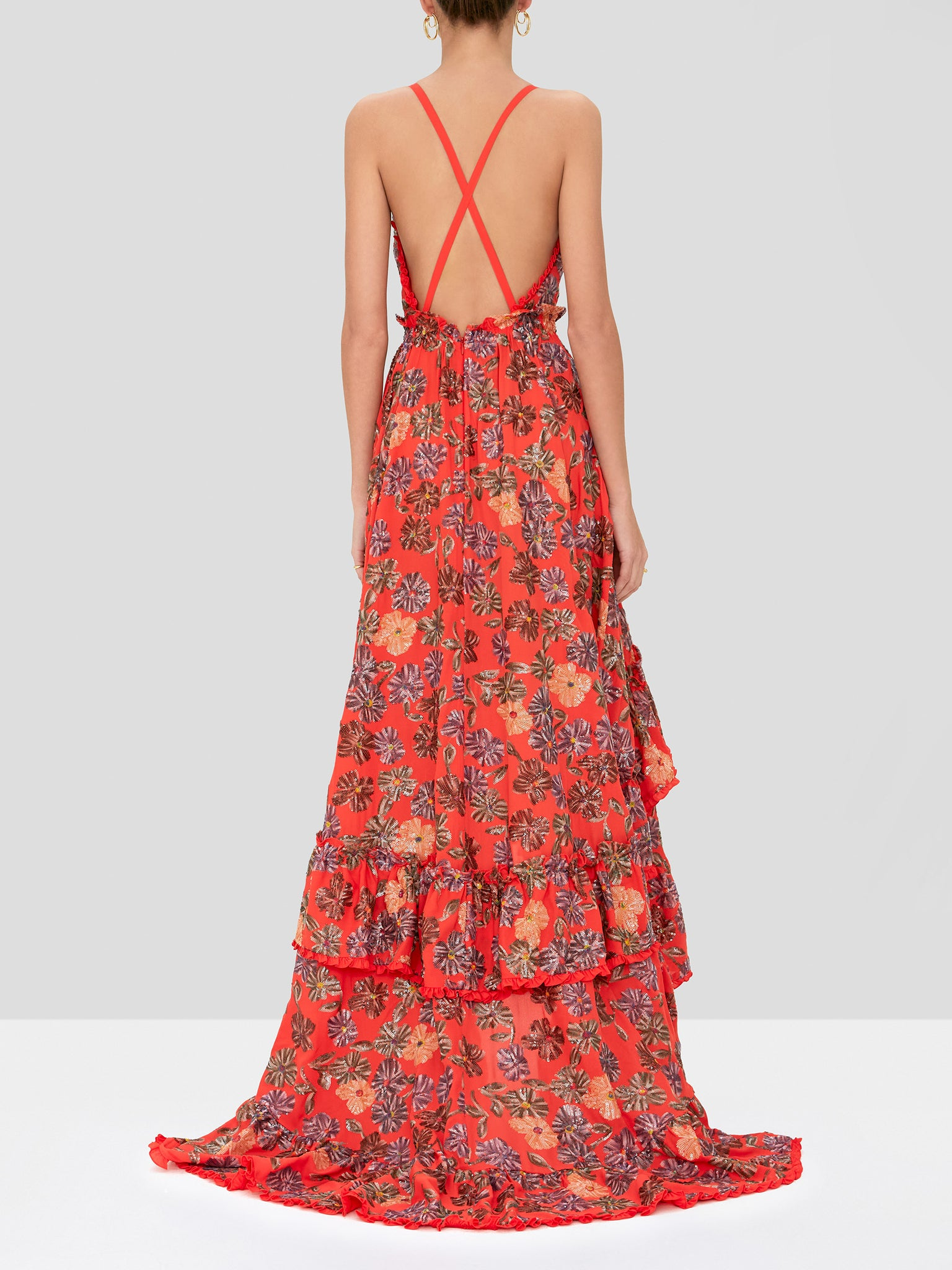 primrose dress in embellished coral - Rear View