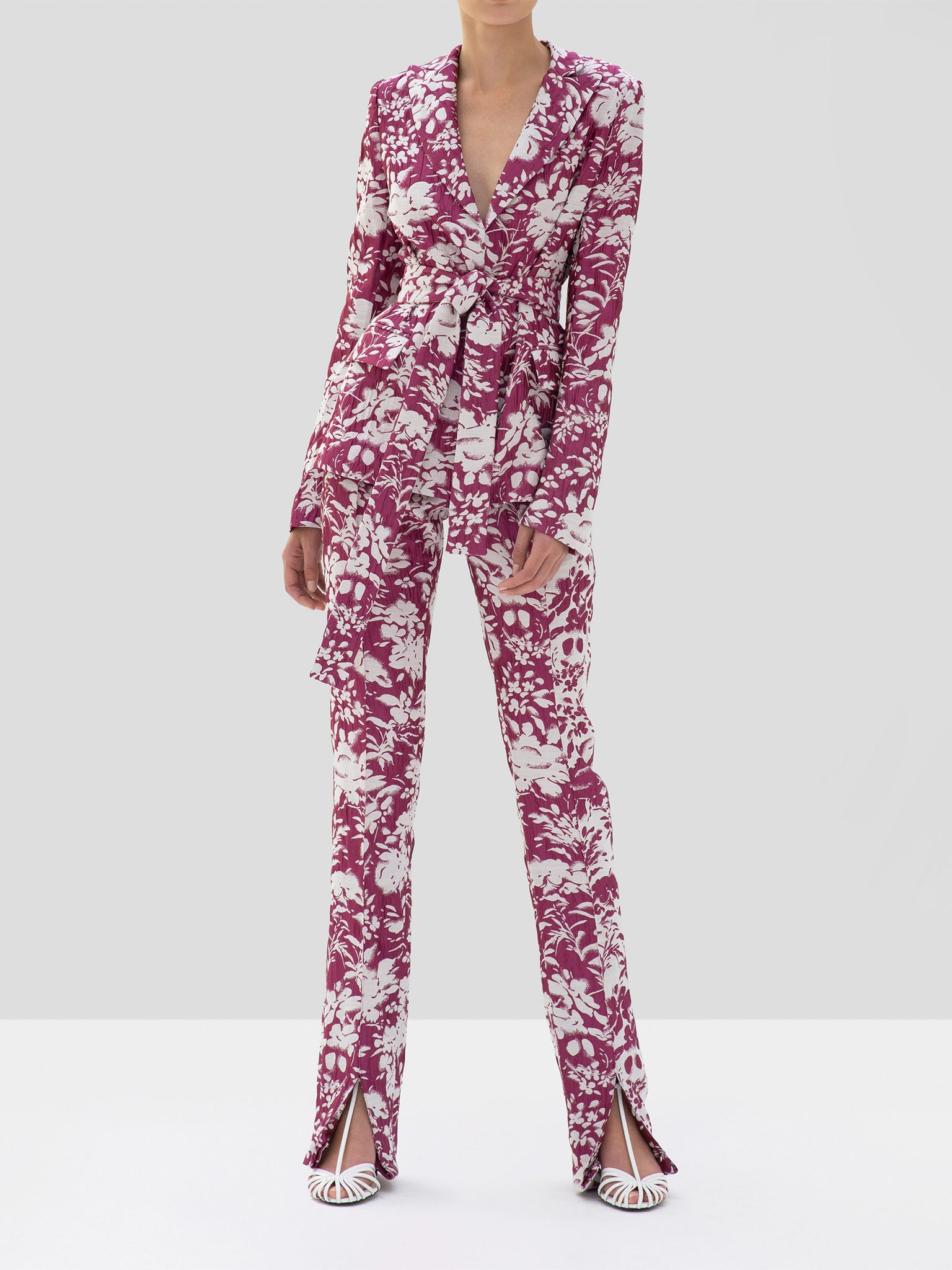 Alexis Raquelle Jacket and Burgos Pant Fuchsia Garden Jacquard from the Fall Winter 2019 Collection
