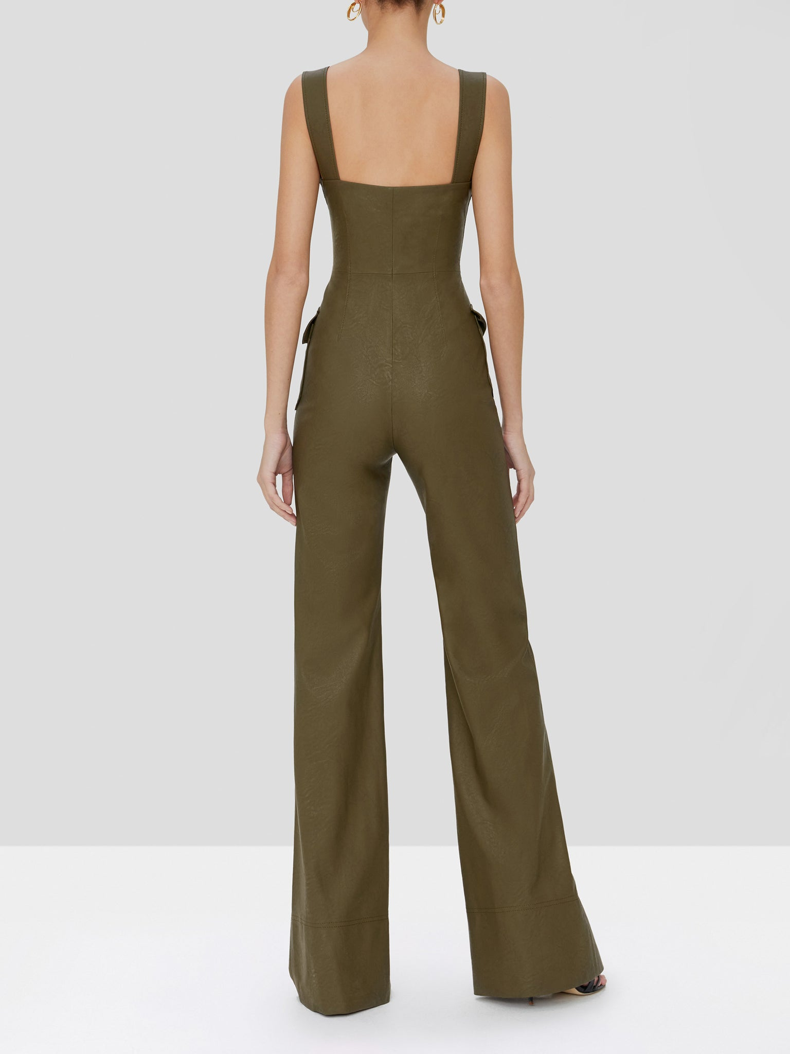 reverie vegan leather jumpsuit in olive - Rear View