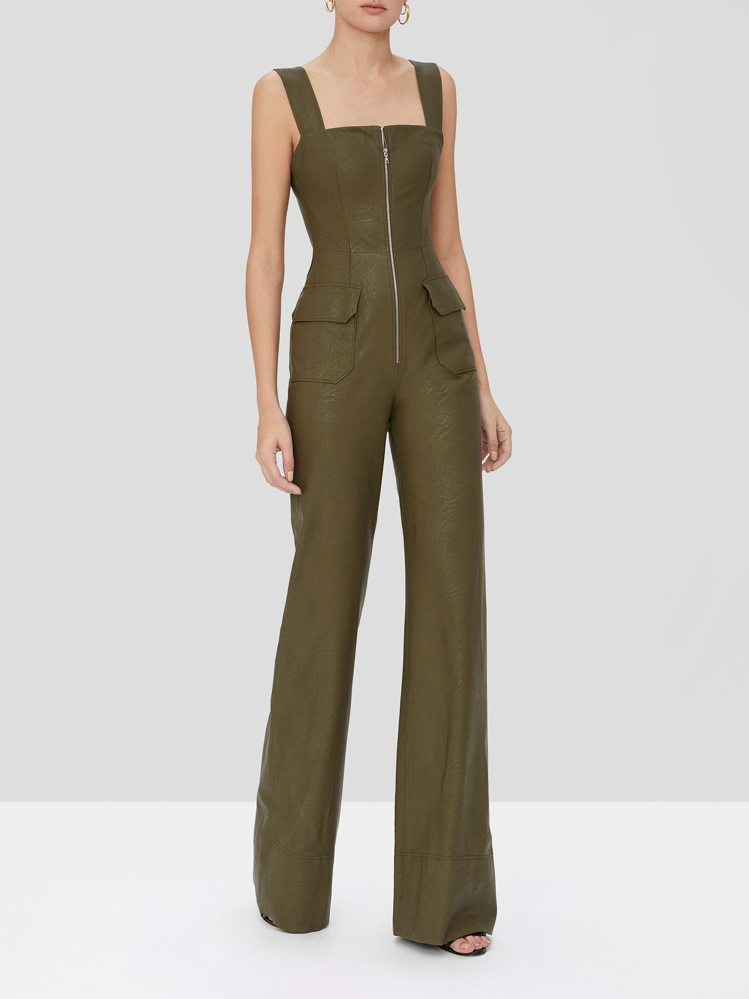 reverie vegan leather jumpsuit in olive