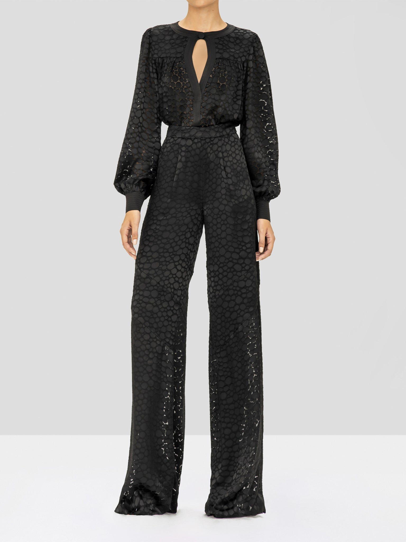 Alexis Galini Pant and Rhida Top in Black Geometric from the Holiday 2019 Ready To Wear Collection