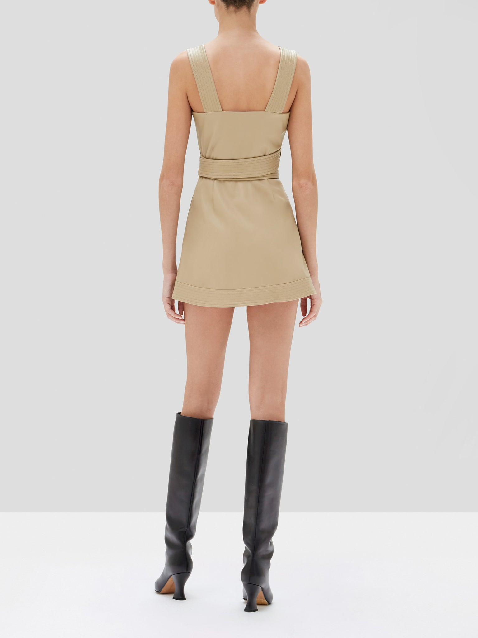 risley romper in taupe - Rear View