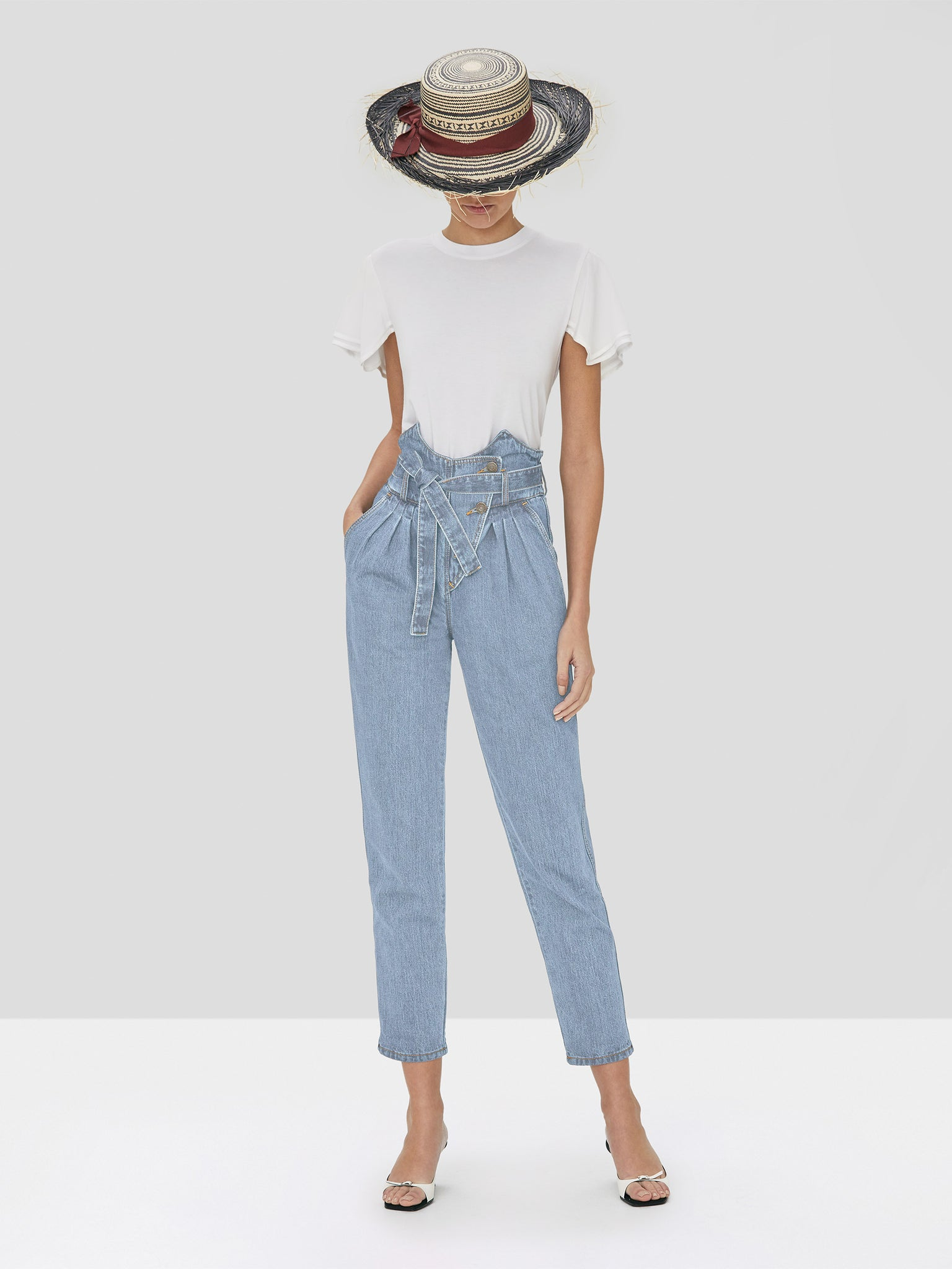 Alexis Stannis Pant in Light Denim and Ronson Top in White from the Spring Summer 2020 Collection