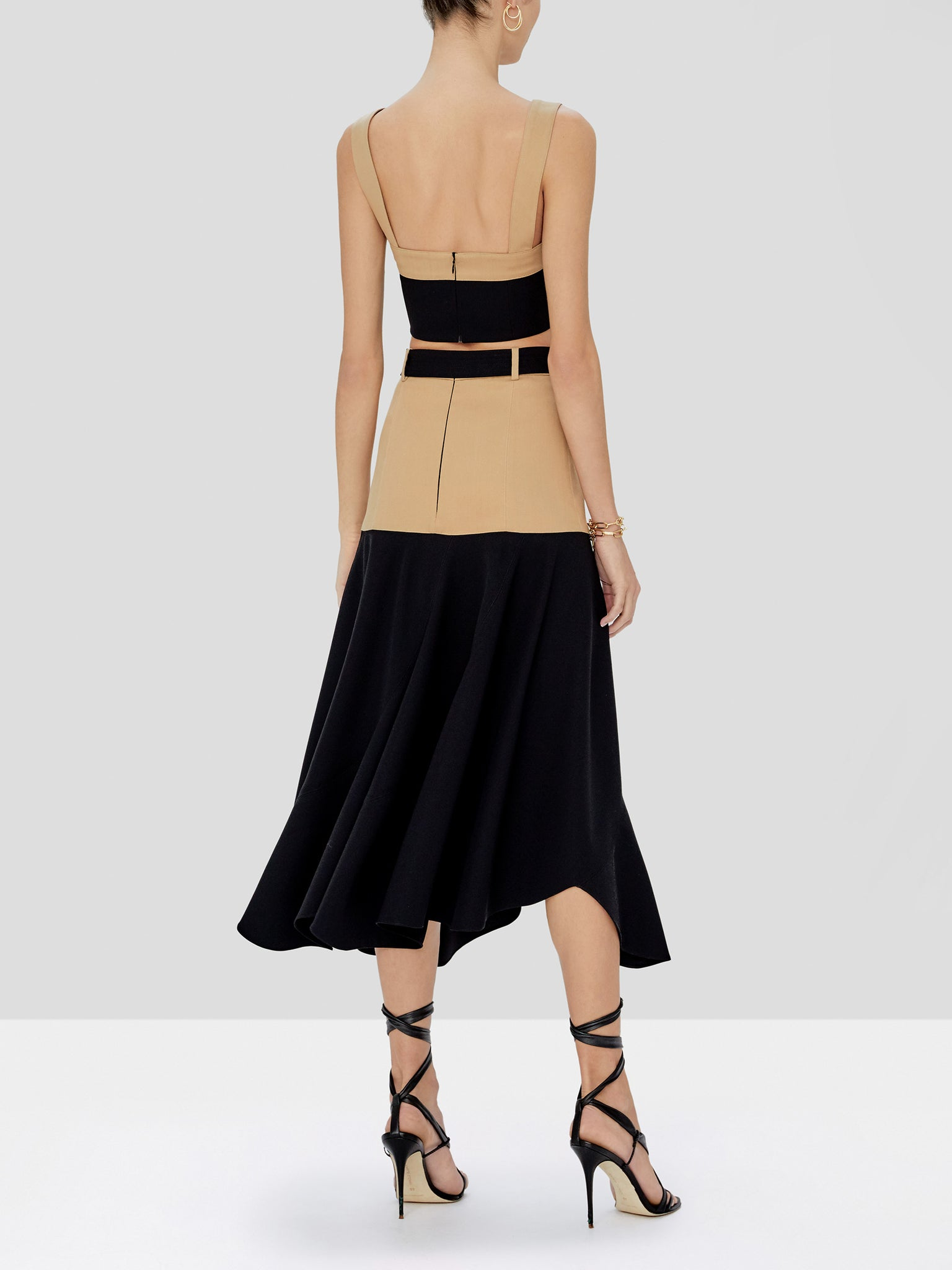 camila skirt in tan/black - Rear View
