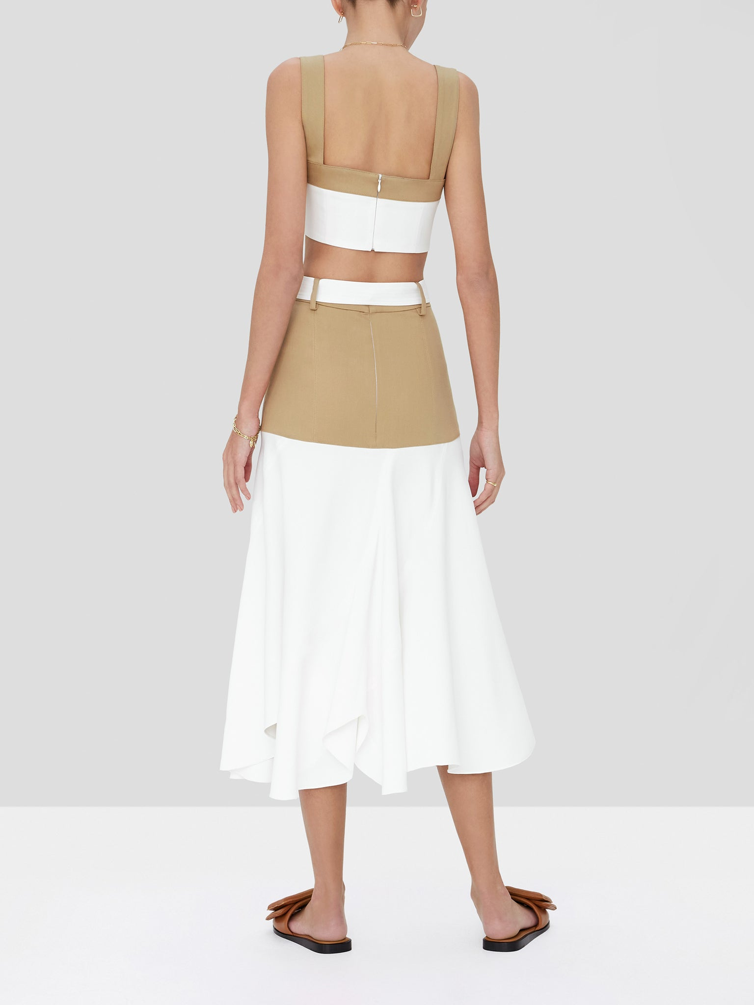 rua crop top in tan/white - Rear View
