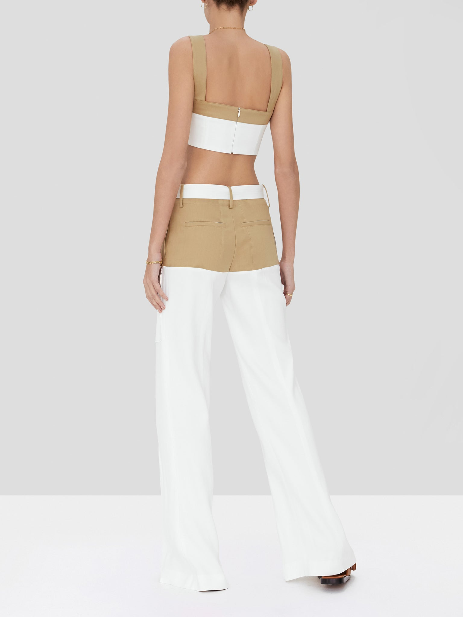 ossun pant in tan/white - Rear View