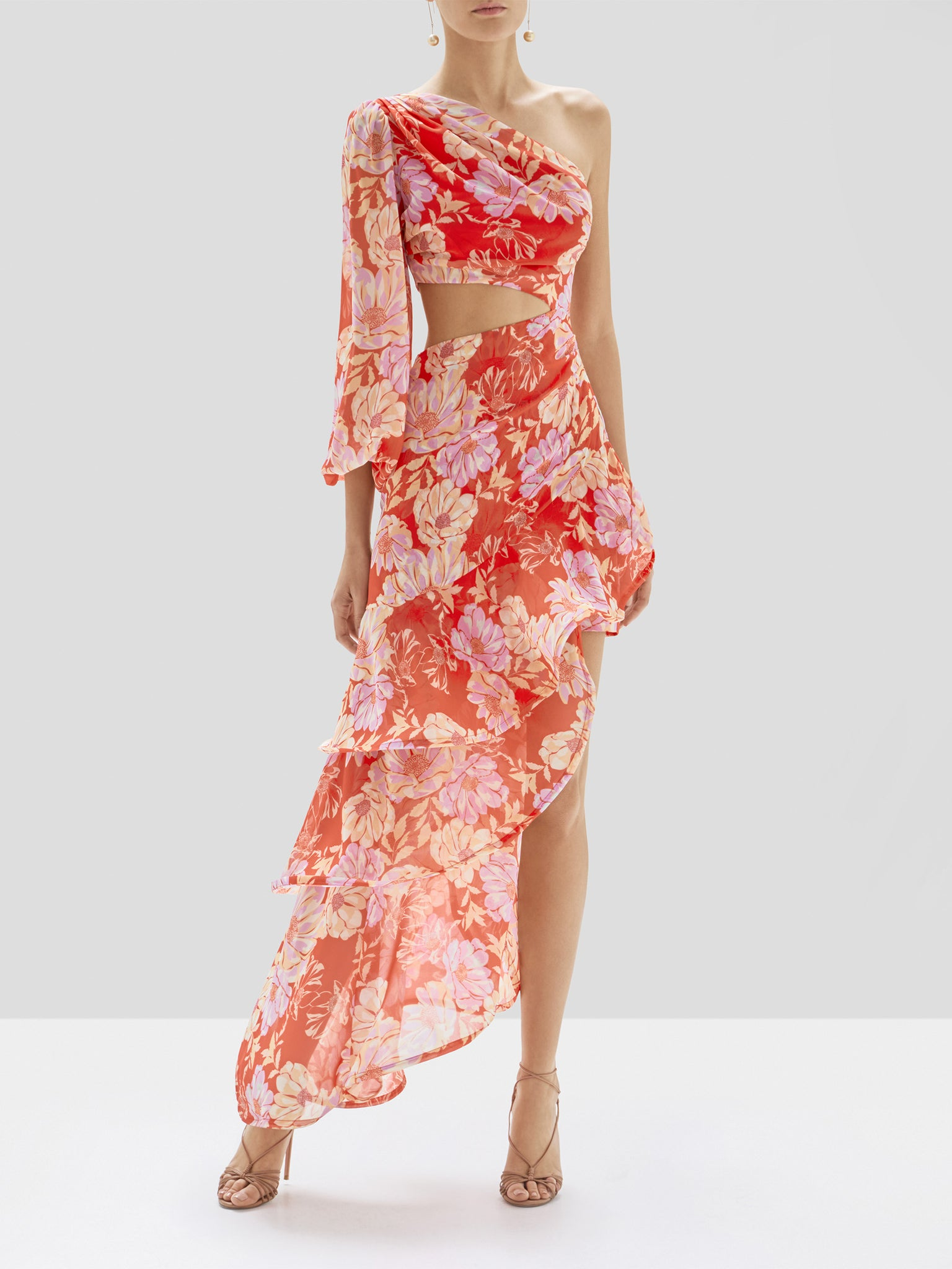 Alexis Sabetta Dress in Red Floral from Pre Spring 2020 Collection