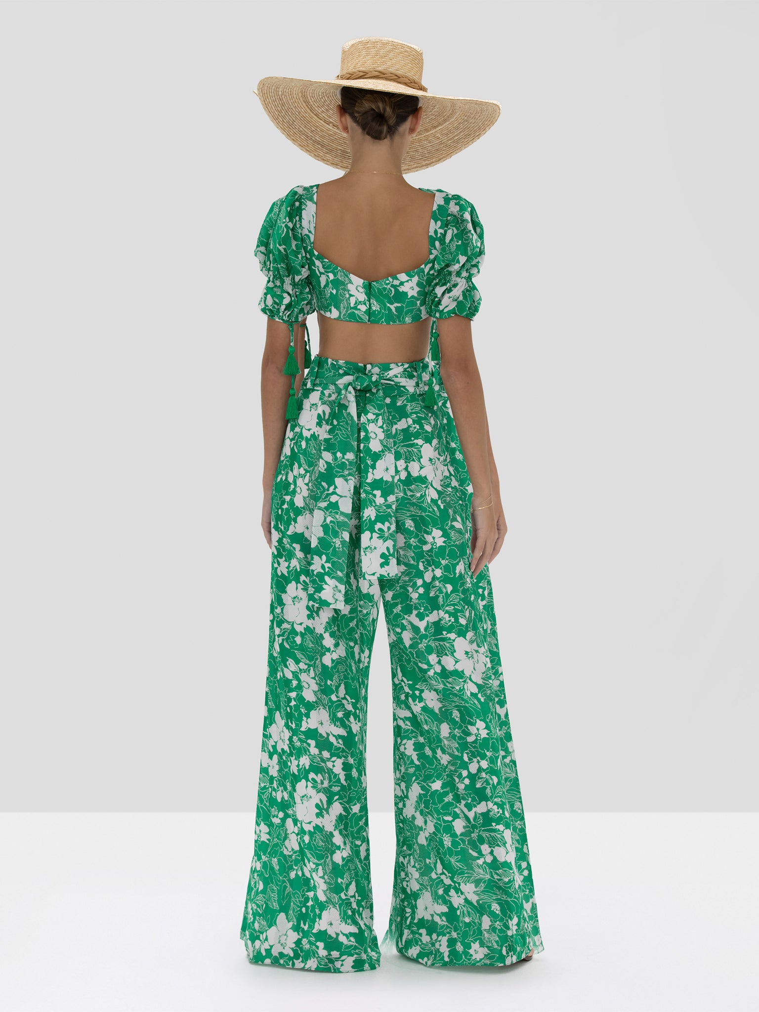 """Hover Image"" The Shel Pants in Emerald Floral from the Spring Summer 2020 Ready To Wear Collection. - Rear View"