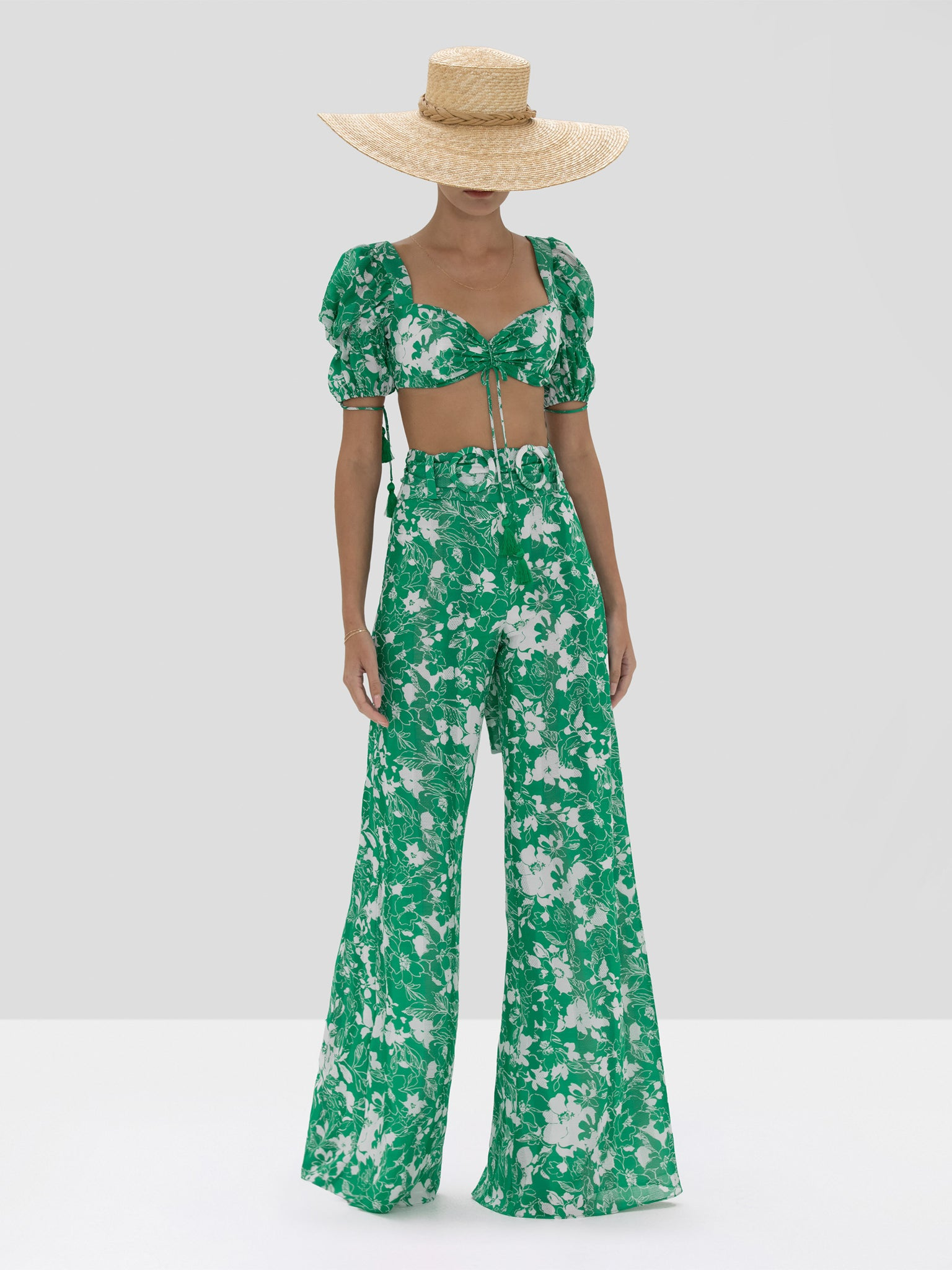 """Hover Image"" The Shel Pants in Emerald Floral from the Spring Summer 2020 Ready To Wear Collection."
