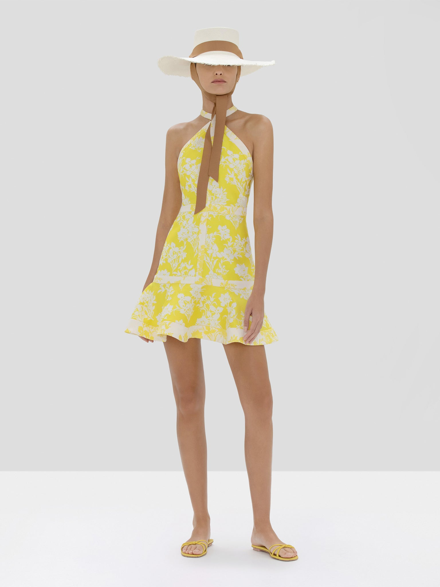 Alexis Solana Dress in Citrus Jacquard from Spring Summer 2020 Collection