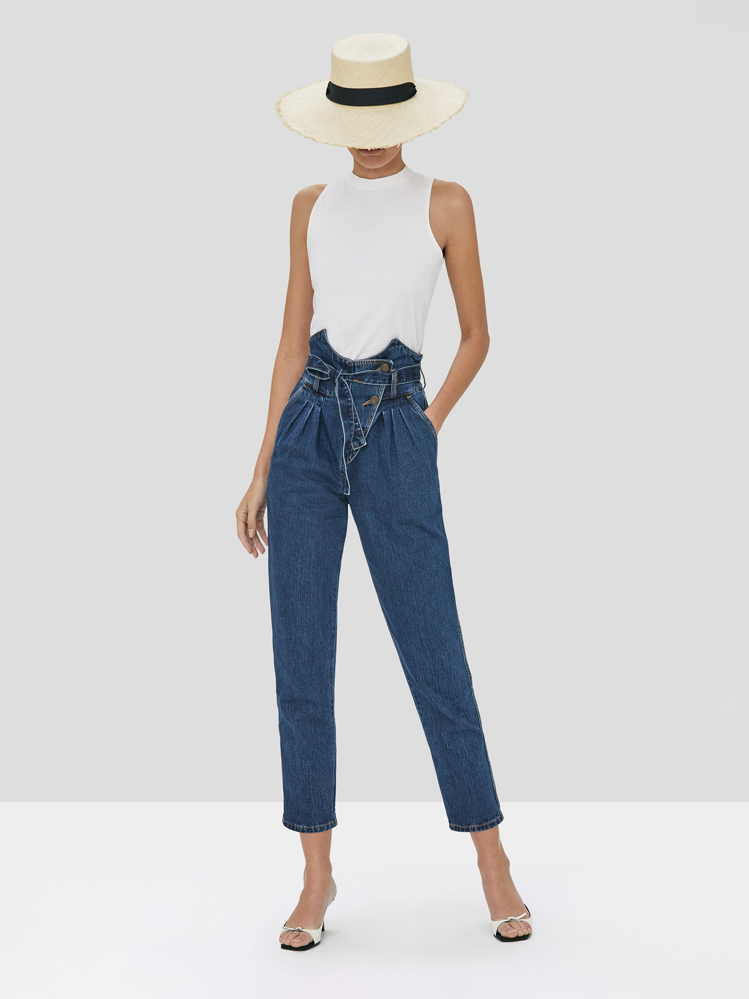 Alexis Teo Top White and Stannis Pant in Washed Denim Spring Summer 2020 Collection