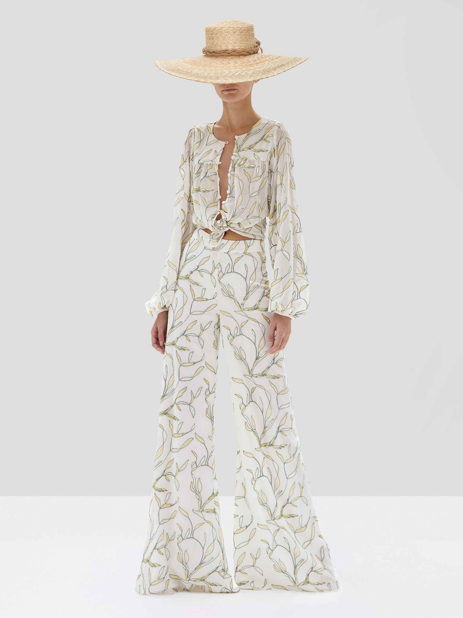 fallen pant in white sequin embroidery