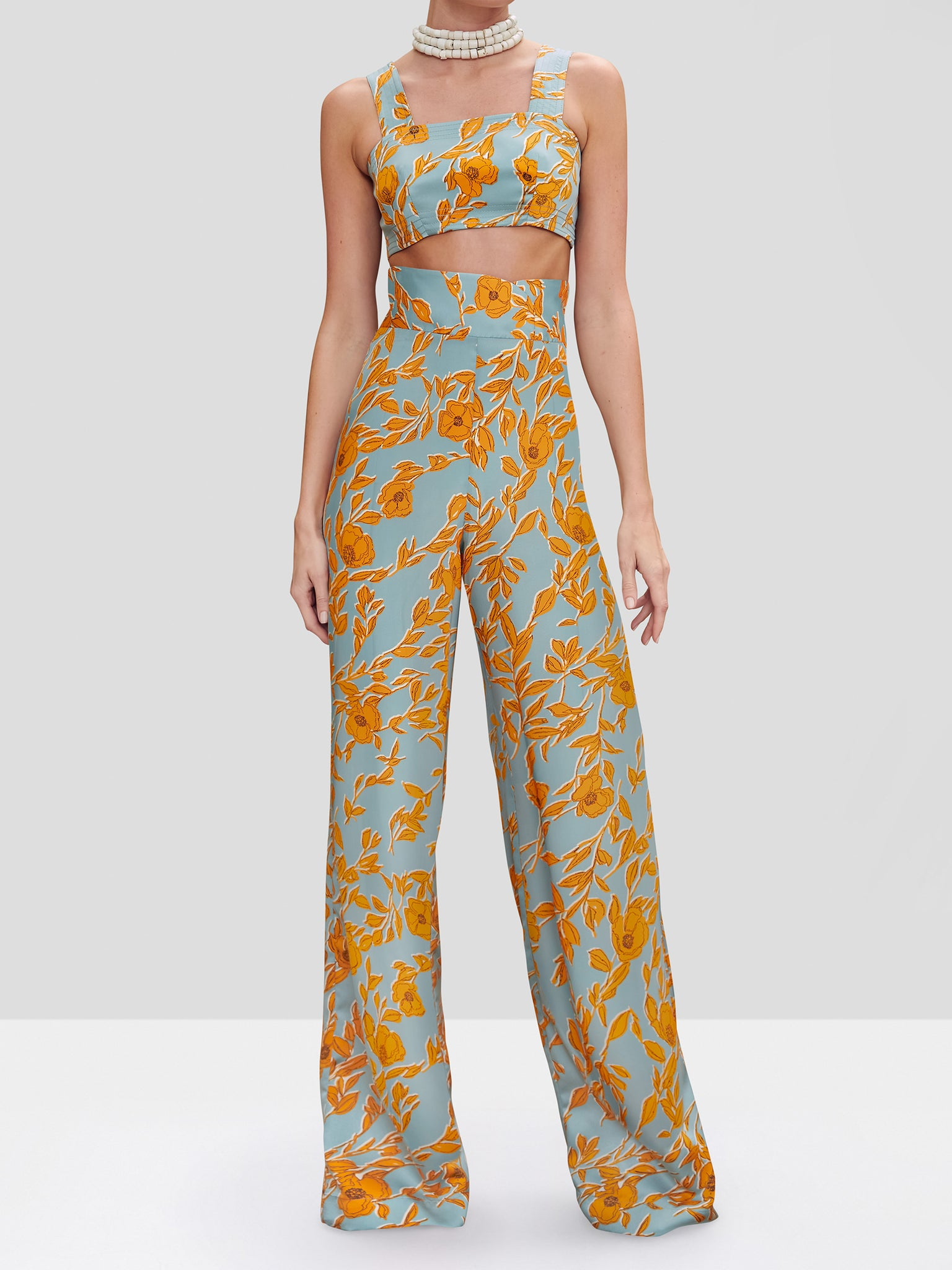 The Olan Pant in Water Garden from the Pre Fall 2020 Ready To Wear Collection. A high waist floral printed pant with belt.