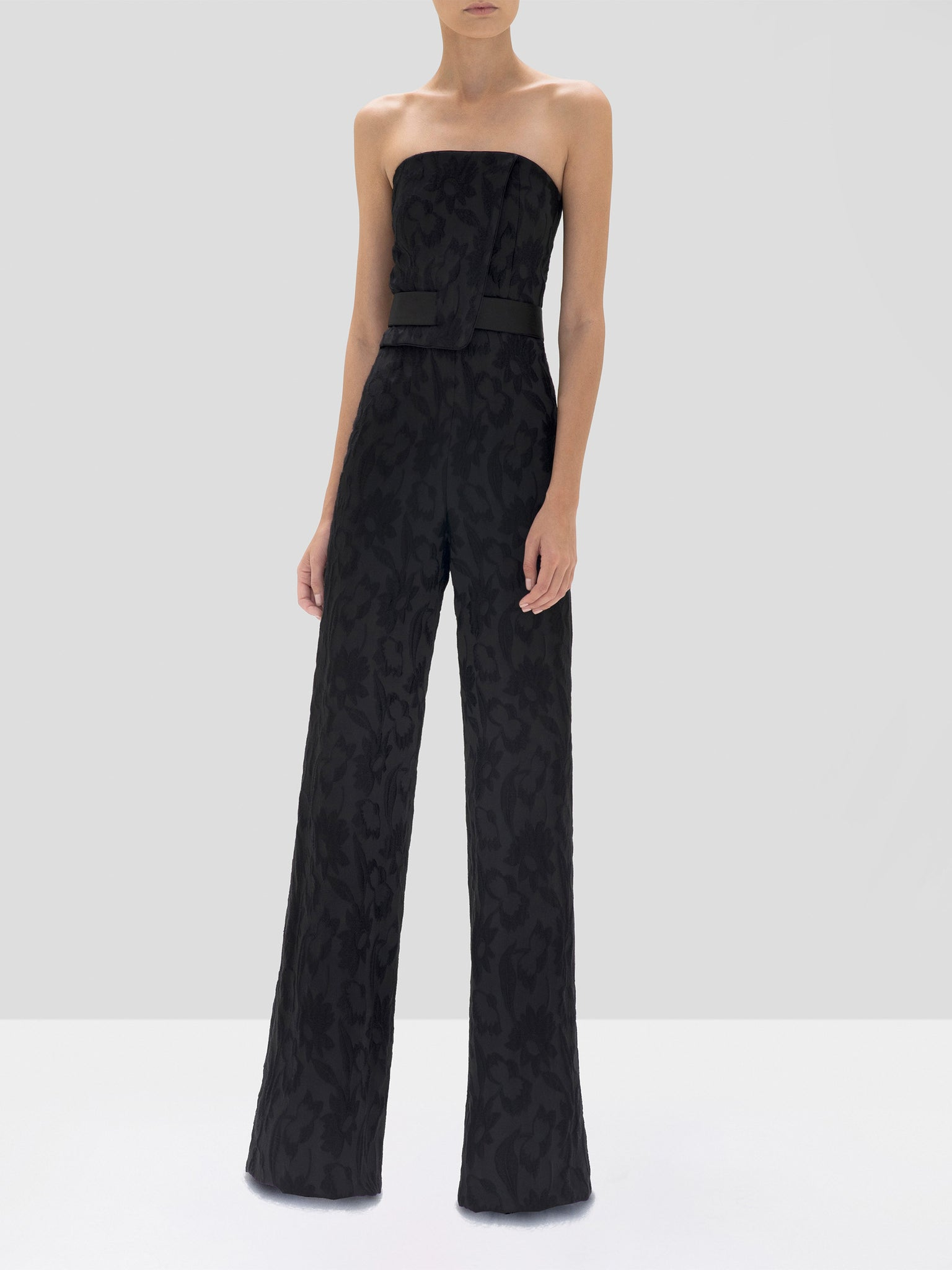 Alexis Venetia Jumpsuit in Black Floral Jacquard from the Fall Winter 2019 Ready To Wear Collection