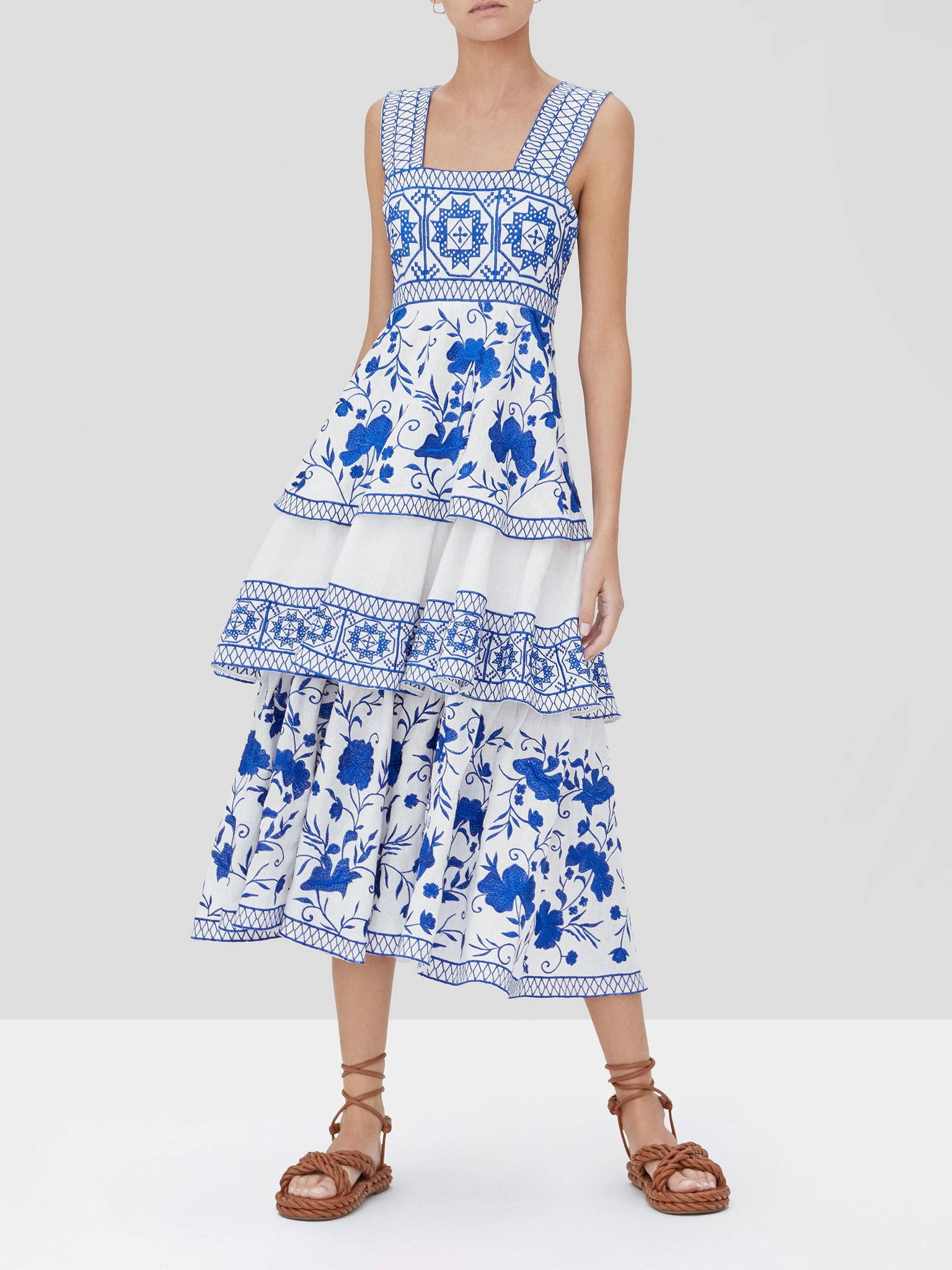 verity dress in blue embroidery