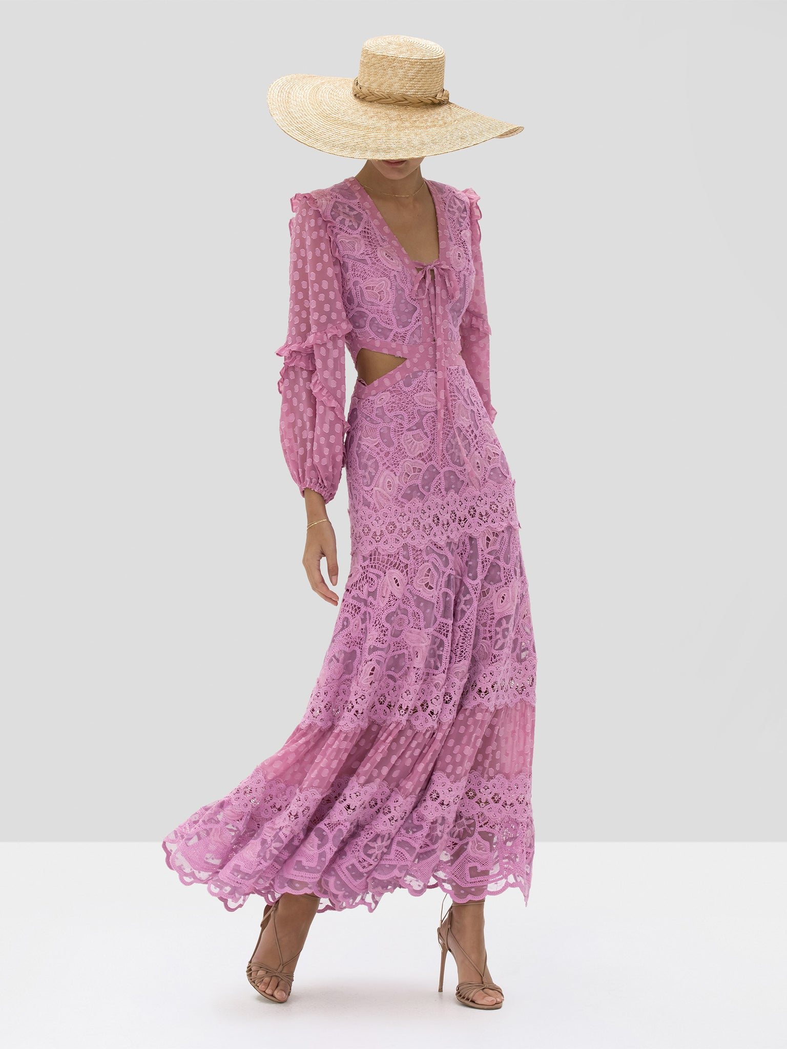 zendaya dress in lilac macrame