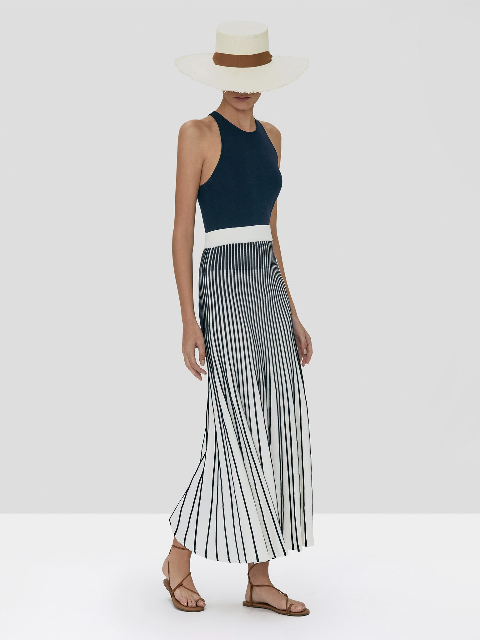 Alexis Zeni Top in Navy and Vani Skirt in Navy/White Stripes from Spring Summer 2020 Collection