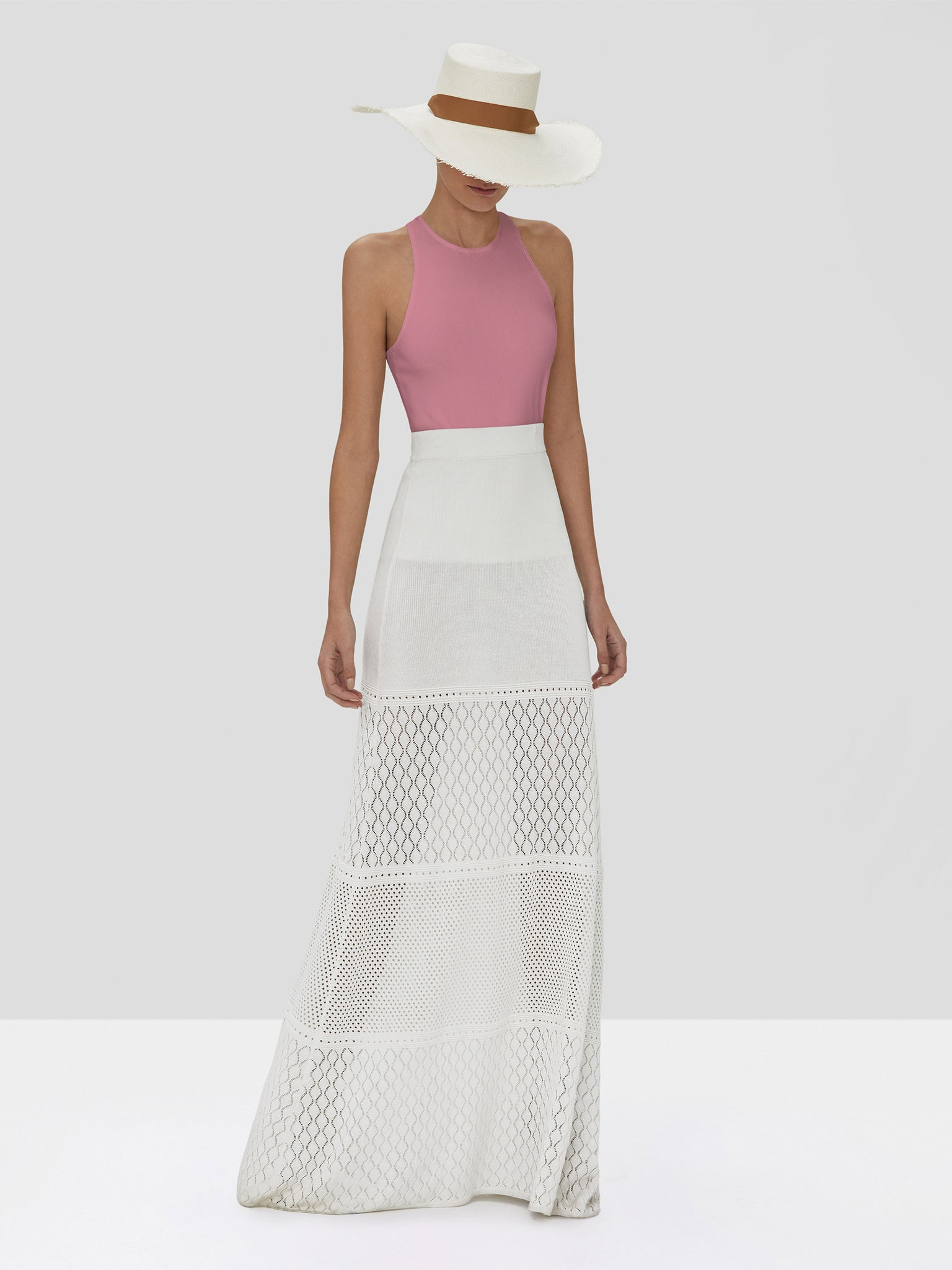 Alexis Zeni Top in Dusty Rose and Ecco Skirt in White from the Spring Summer 2020 Collection
