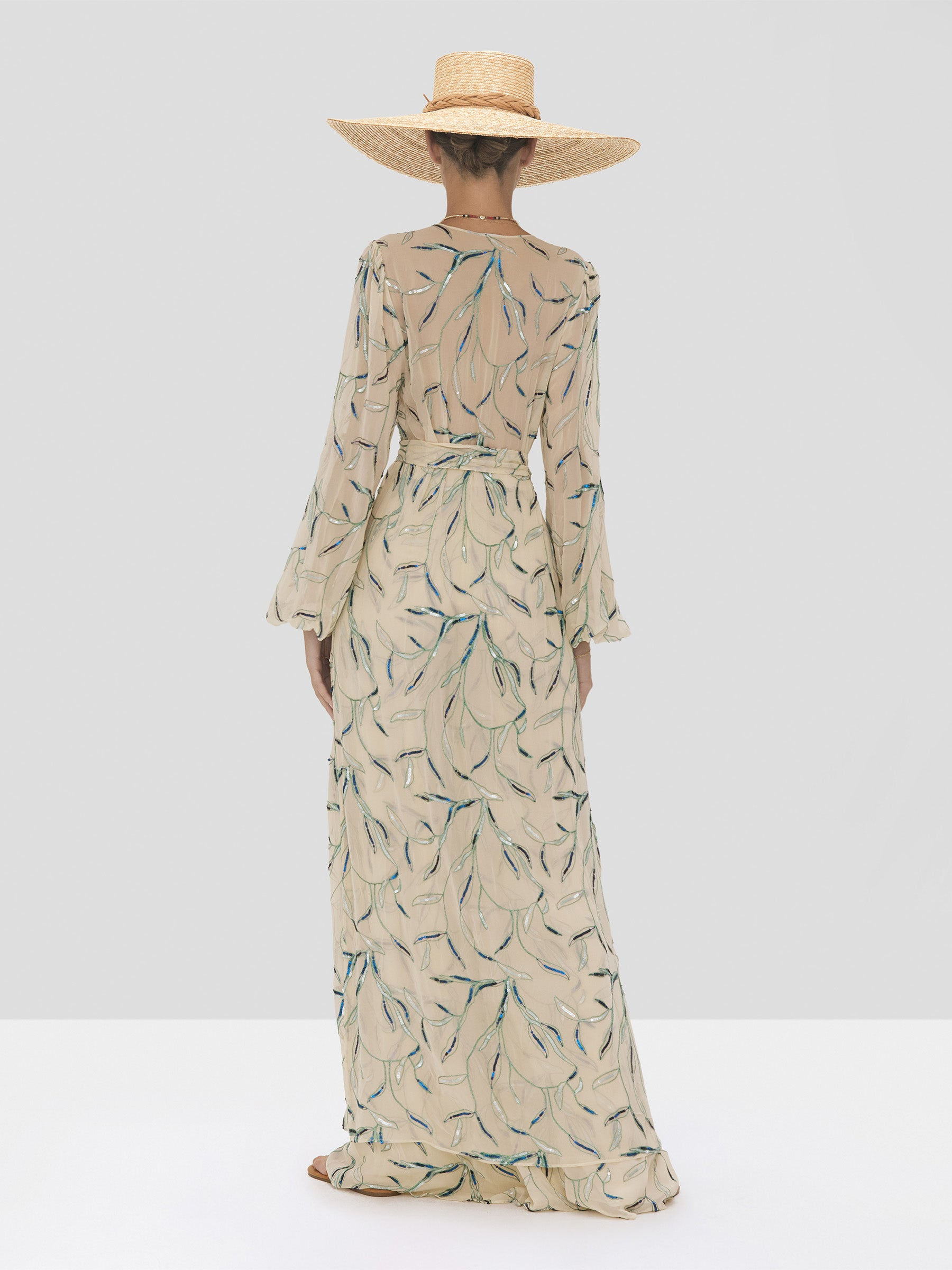 Alexis Fallen Pant and Amaia Kaftan in Tan Sequin Embroidery from the Spring Summer 2020 Collection - Rear View