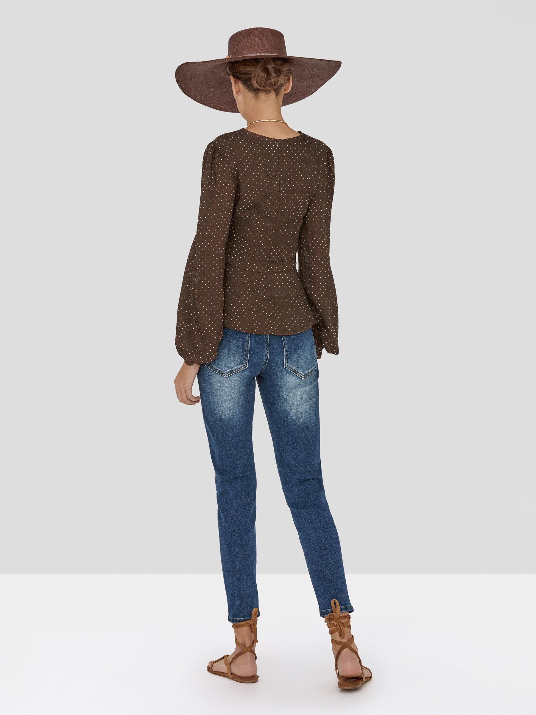 Alexis Avani Top in Mocha Dot Linen and Holston Denim Pant in Indigo Denim from Spring Summer 2020  - Rear View