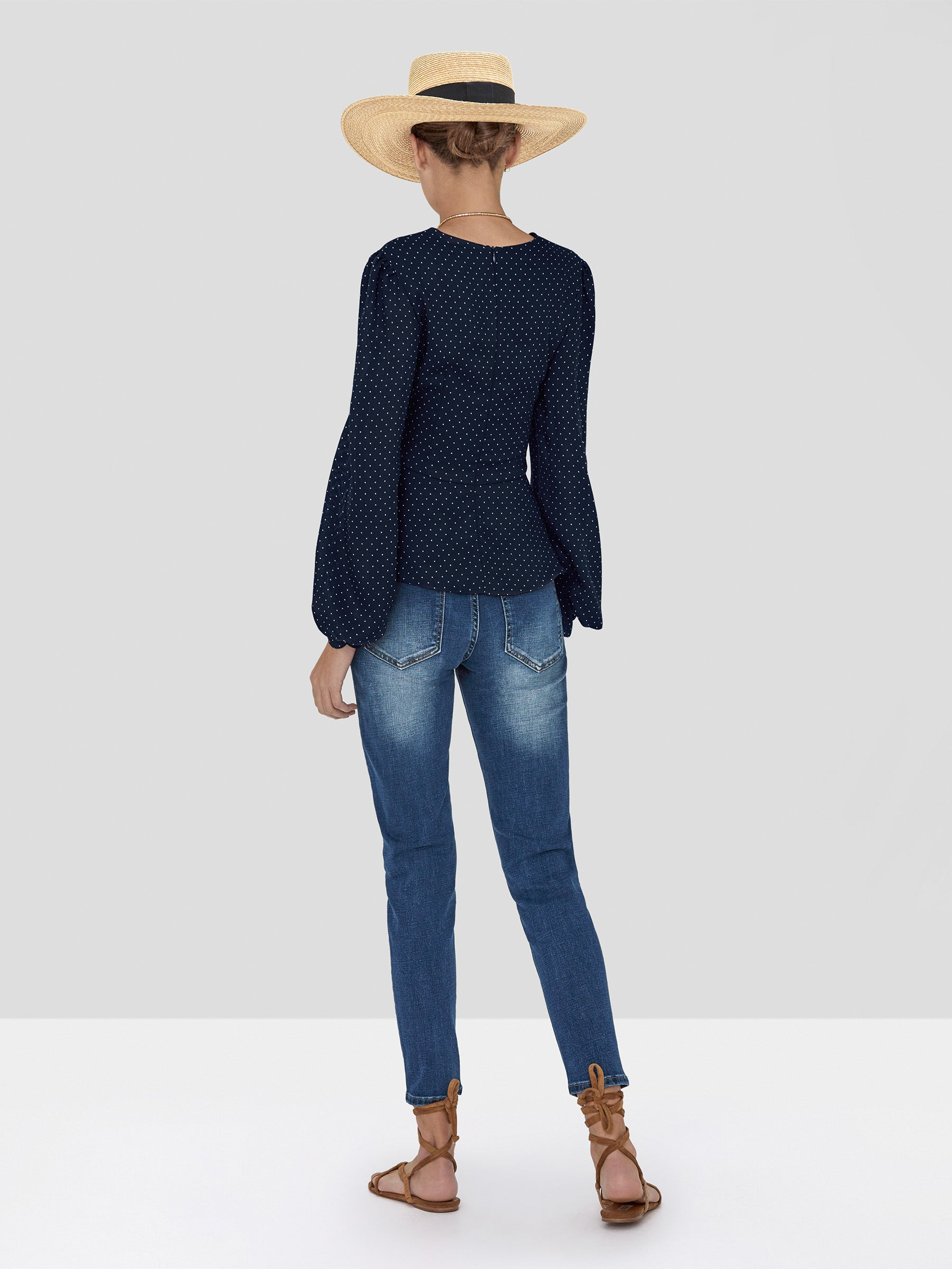 Alexis Avani Top in Navy Dot Linen from the Spring Summer 2020 Collection - Rear View