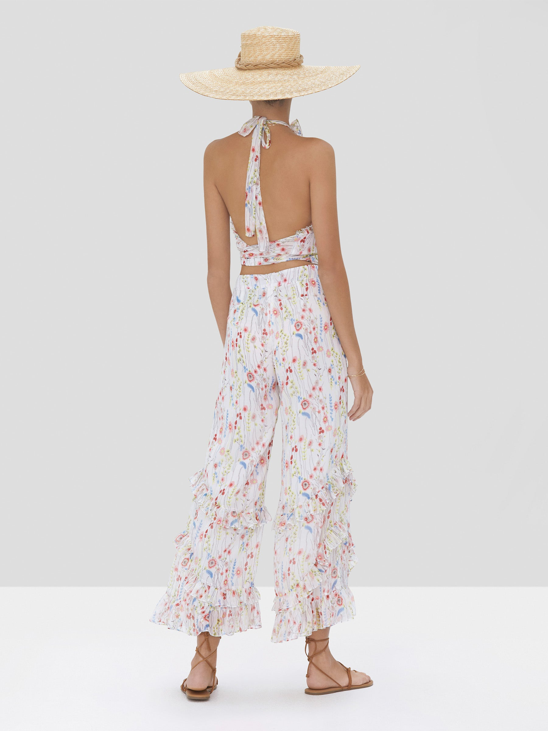 Alexis Balbina Crop Top and Faizel Pant in White Bouquet from Spring Summer 2020 Collection - Rear View