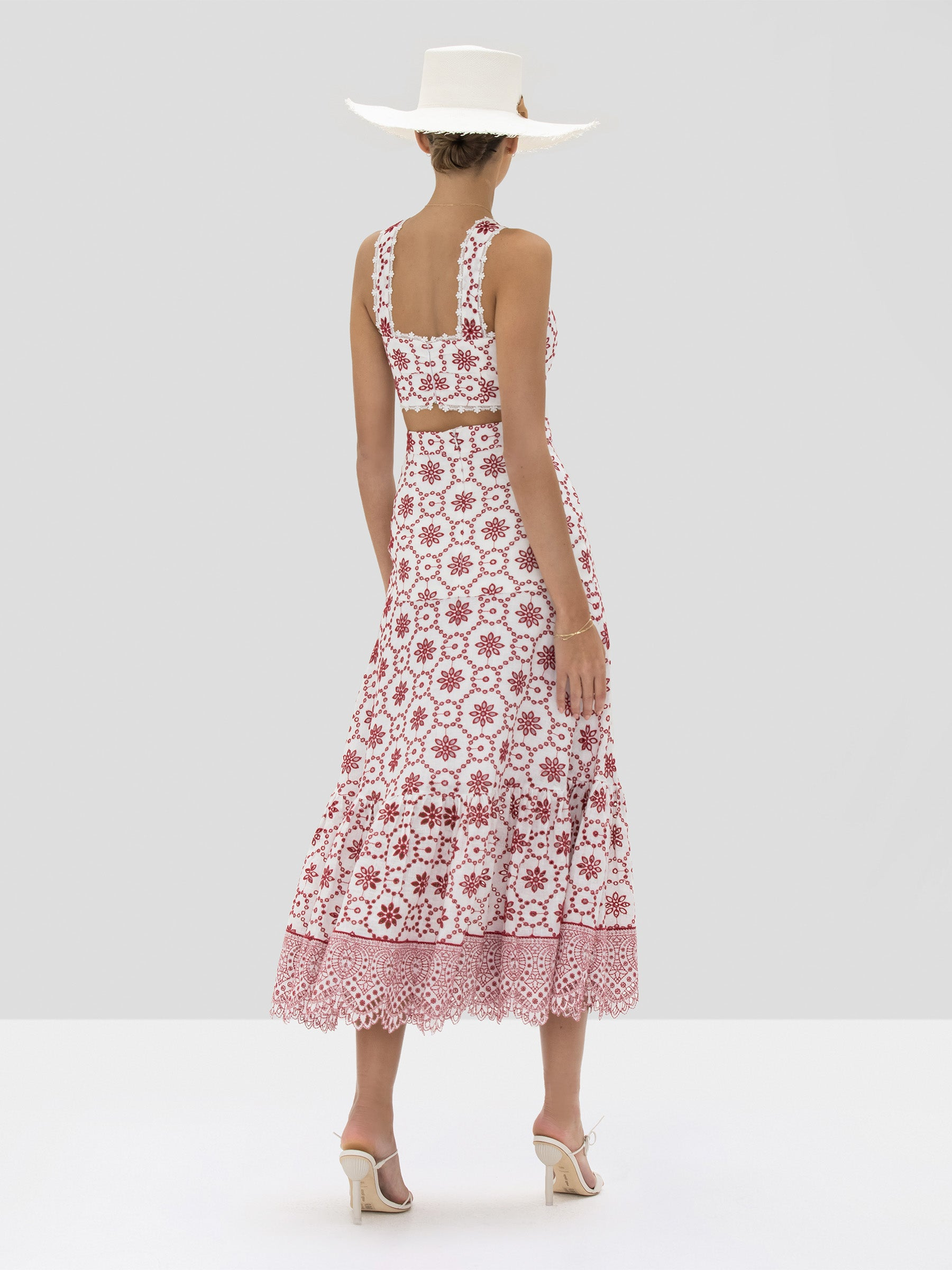 Alexis Barta Crop Top and Paulina Skirt in Berry Eyelet Embroidery from Spring Summer 2020 - Rear View