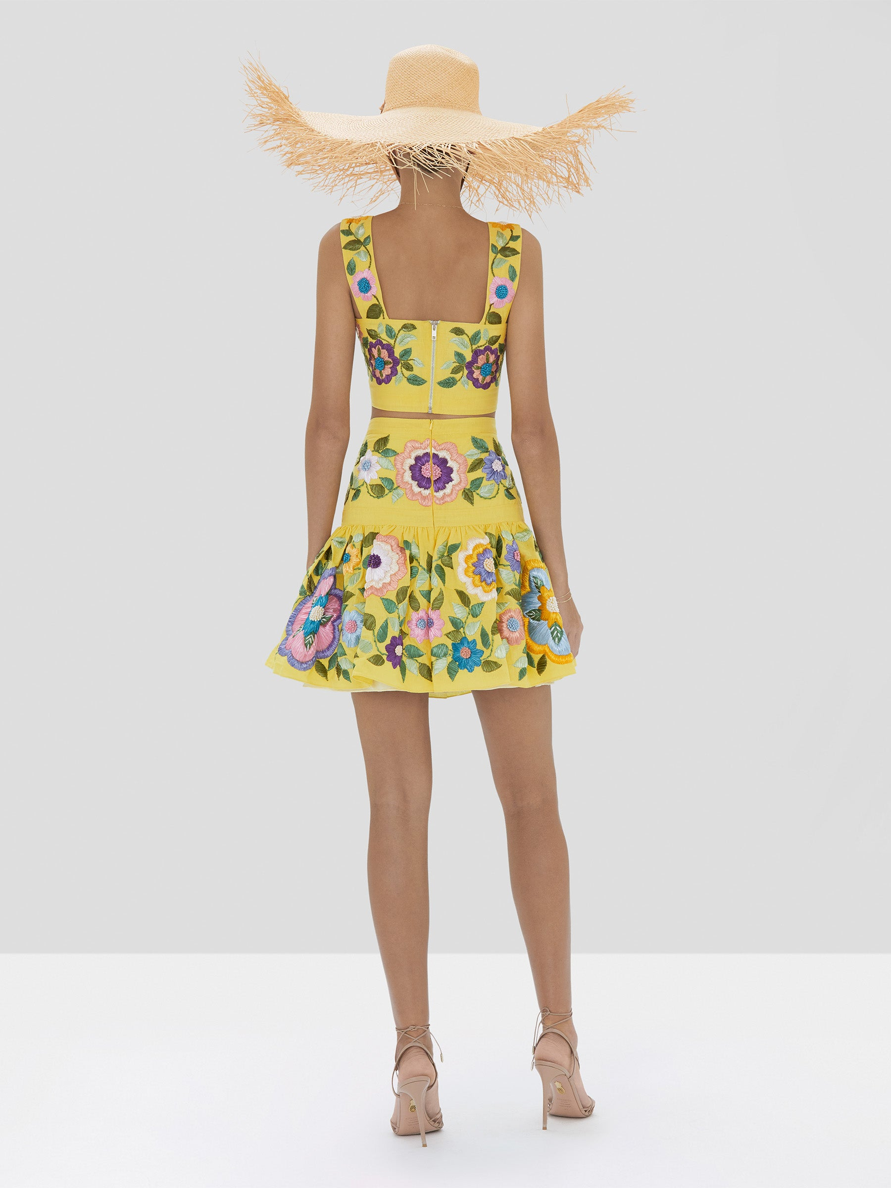 Alexis Bekki Crop Top and Kasandra Skirt in Blooming Floral from Spring Summer 2020 Collection - Rear View
