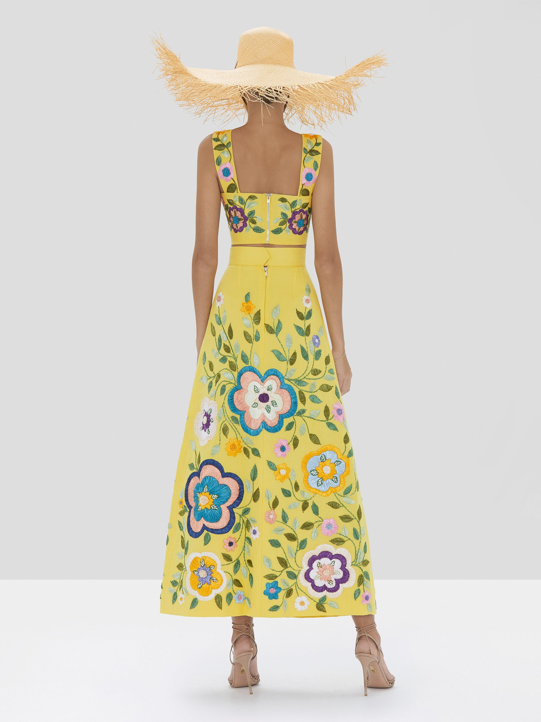 Alexis Bekki Crop Top and Ophelit Skirt in Blooming Floral from Spring Summer 2020 Collection - Rear View
