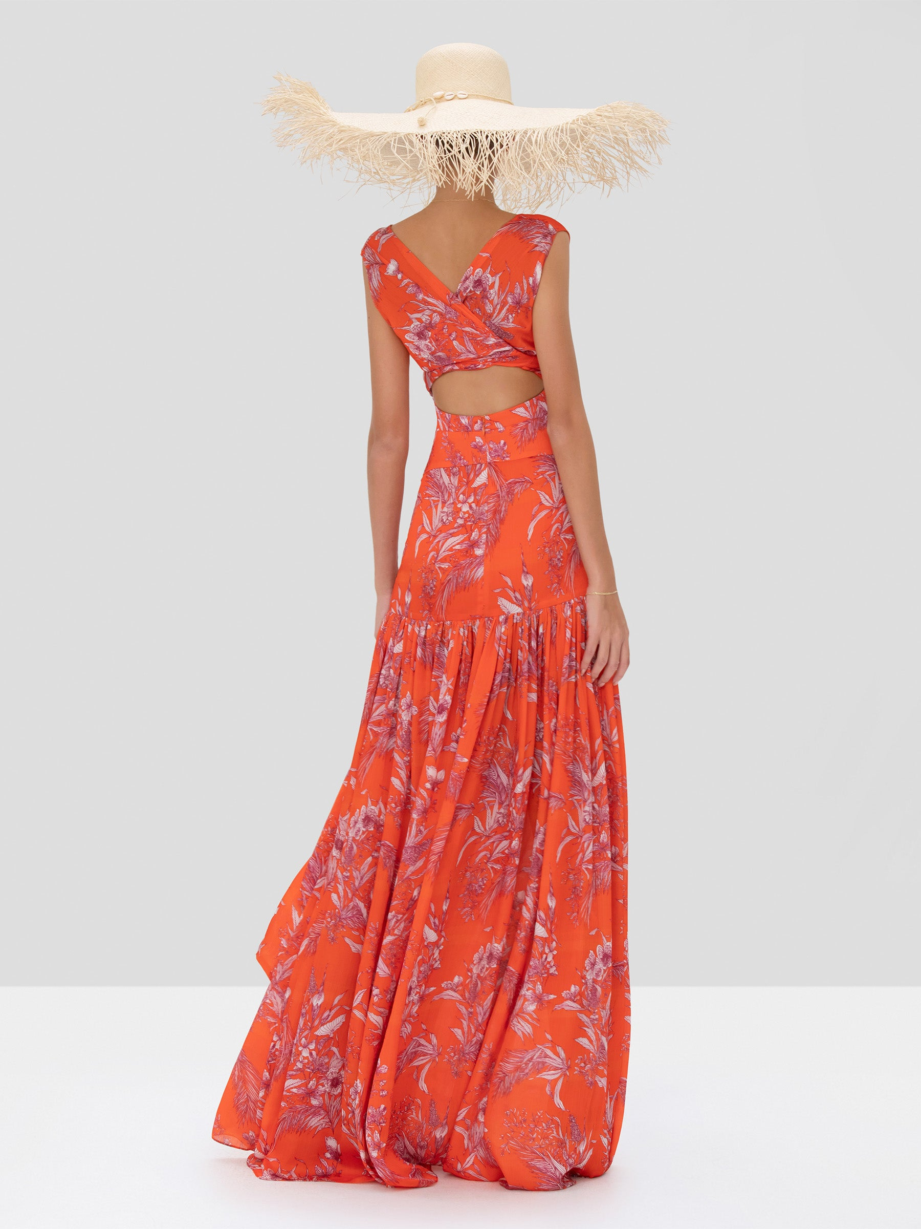 Alexis Belaya Dress in Mandarin Palm from Spring Summer 2020 Collection - Rear View