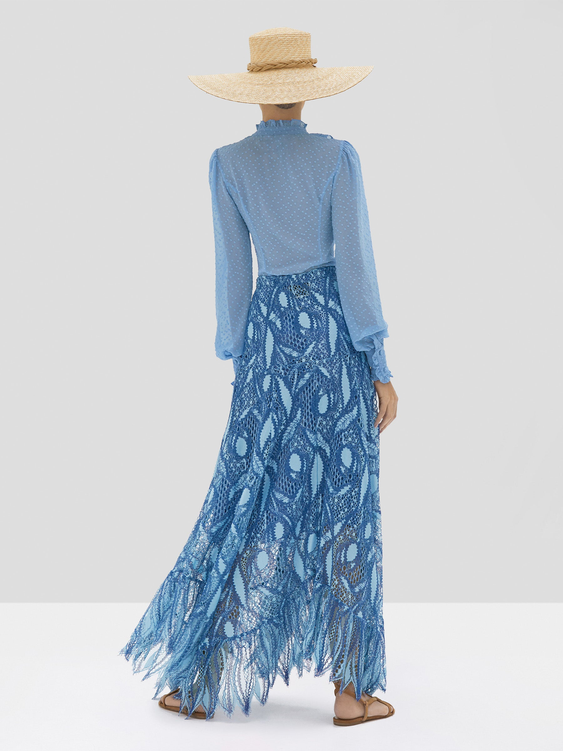 Alexis Benham Top and Kauri Skirt in Blue Lace Embroidery from Spring Summer 2020  - Rear View