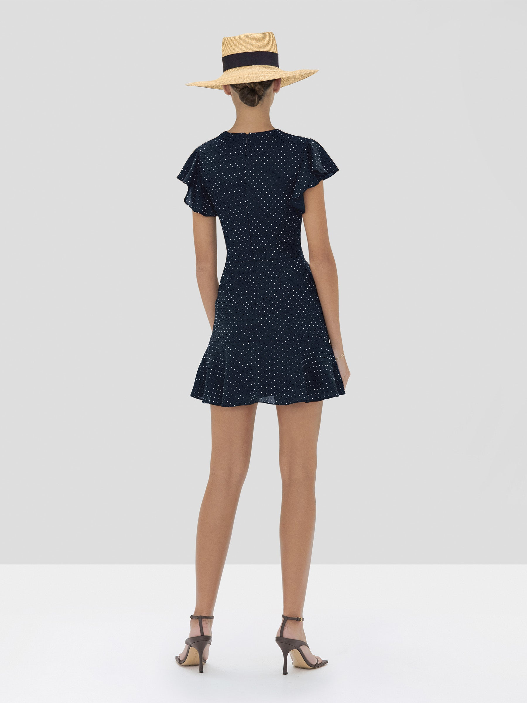 Alexis Benza Dress in Navy Dot Linen from the Spring Summer 2020 Collection - Rear View