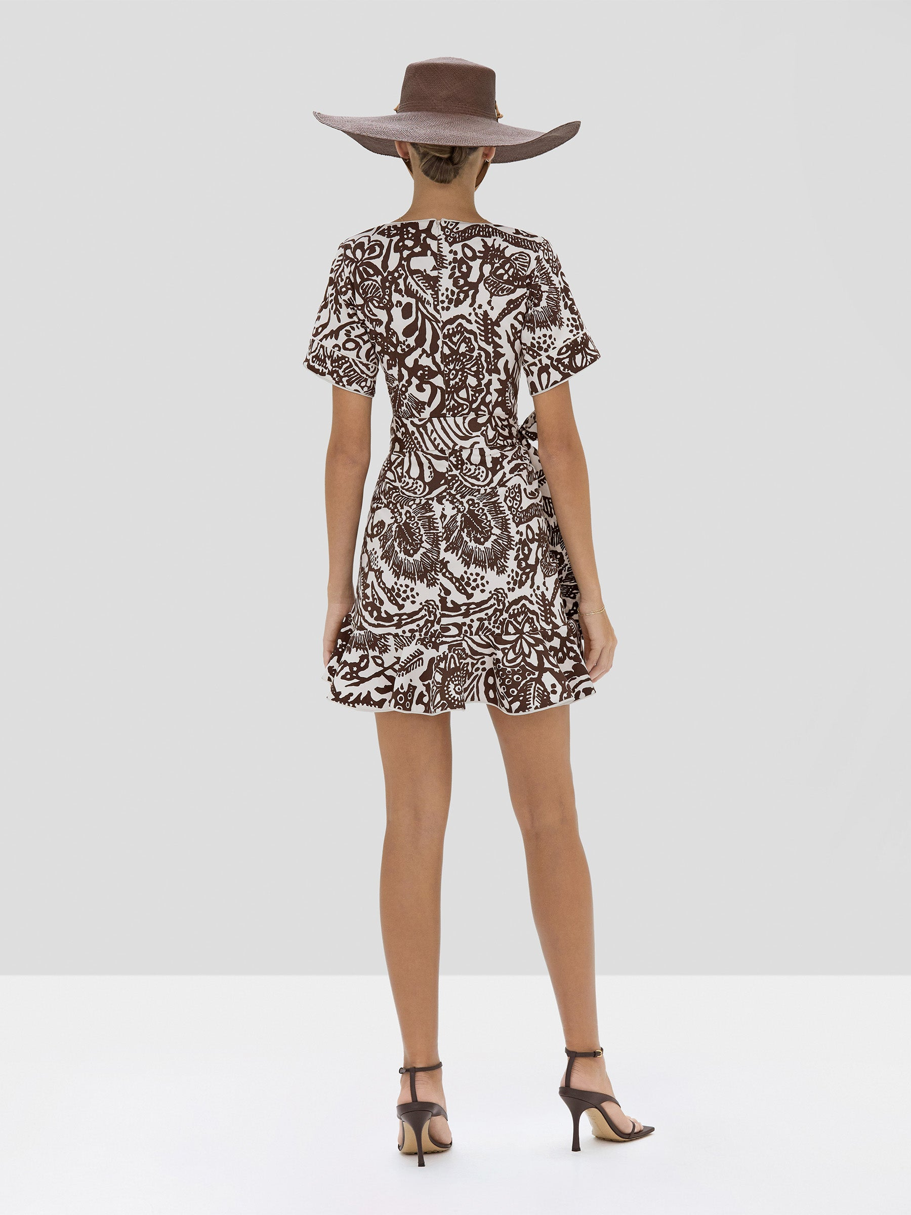Alexis Berenna Dress in Tropical Brown from the Spring Summer 2020 Collection - Rear View