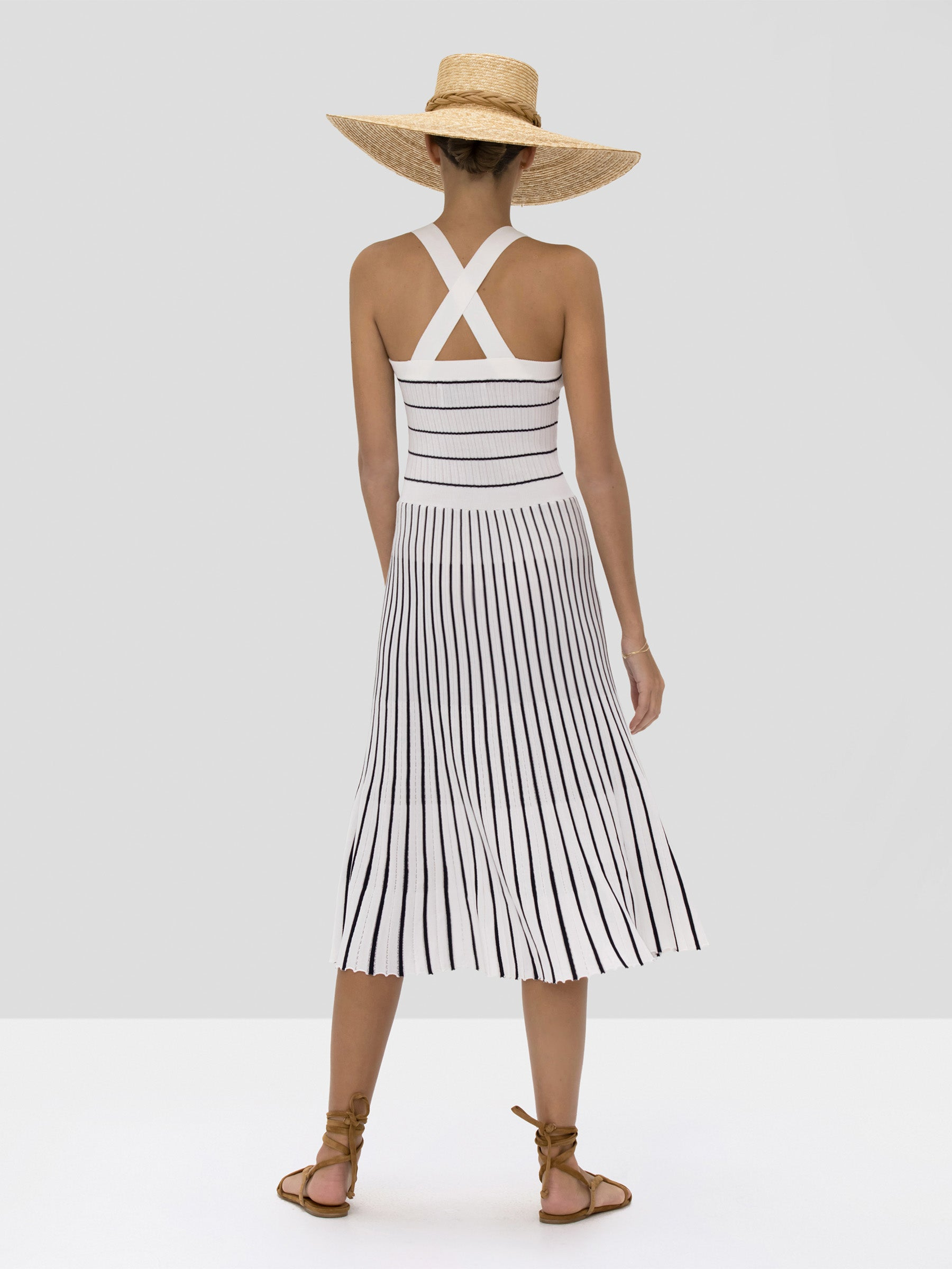 The Bess Dress in Navy White Stripes from the Spring Summer 2020 - Rear View