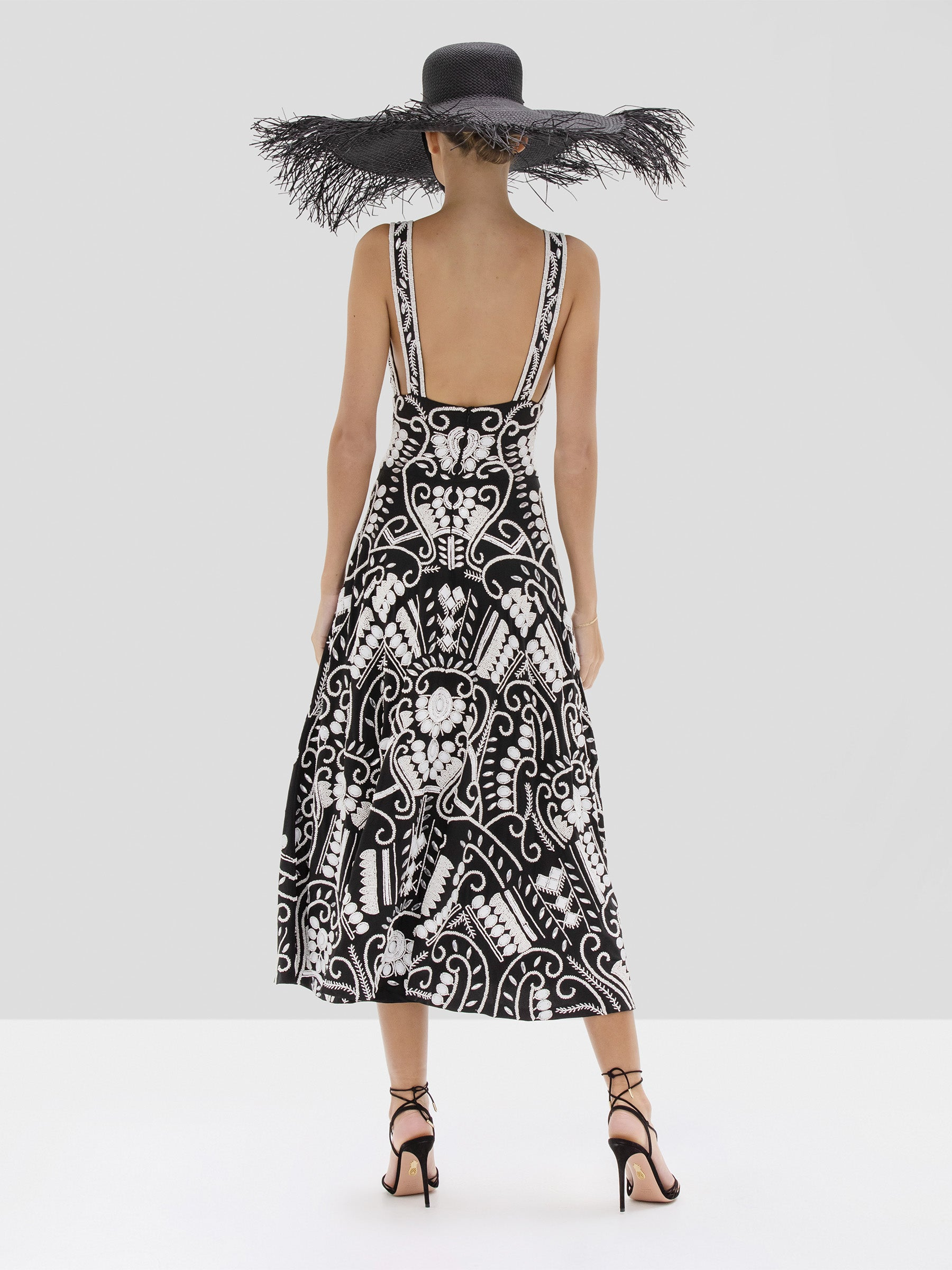Alexis Brigida Dress in Black and White Embroidery from the Spring Summer 2020 Collection - Rear View