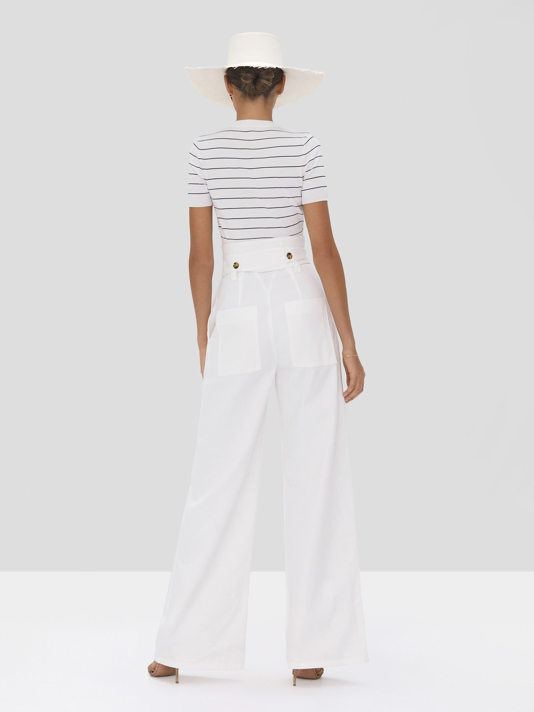 The Carlie Crop Top in White/Navy Stripes from the Spring Summer 2020 - Rear View