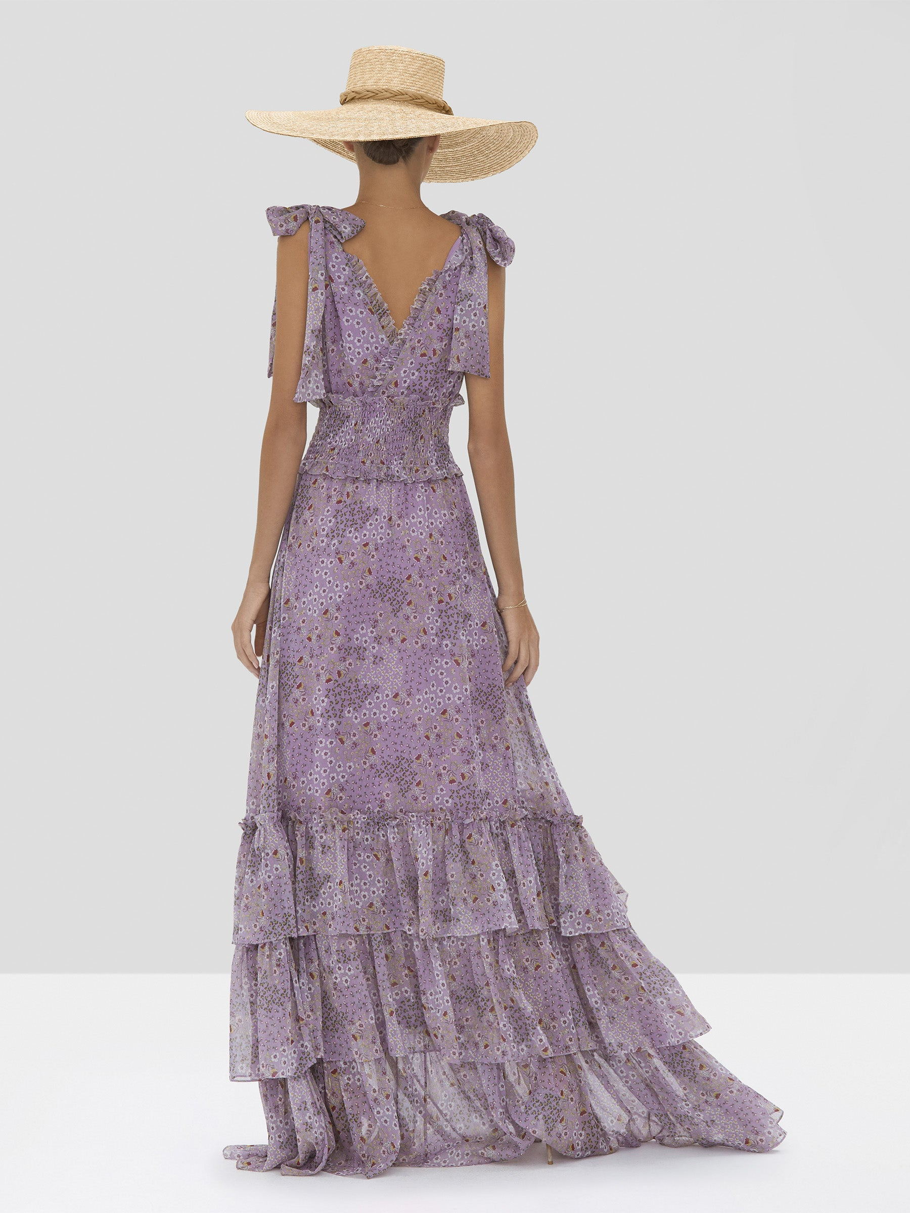 Alexis Clemence Dress in Purple Bouquet from Spring Summer 2020 - Rear View