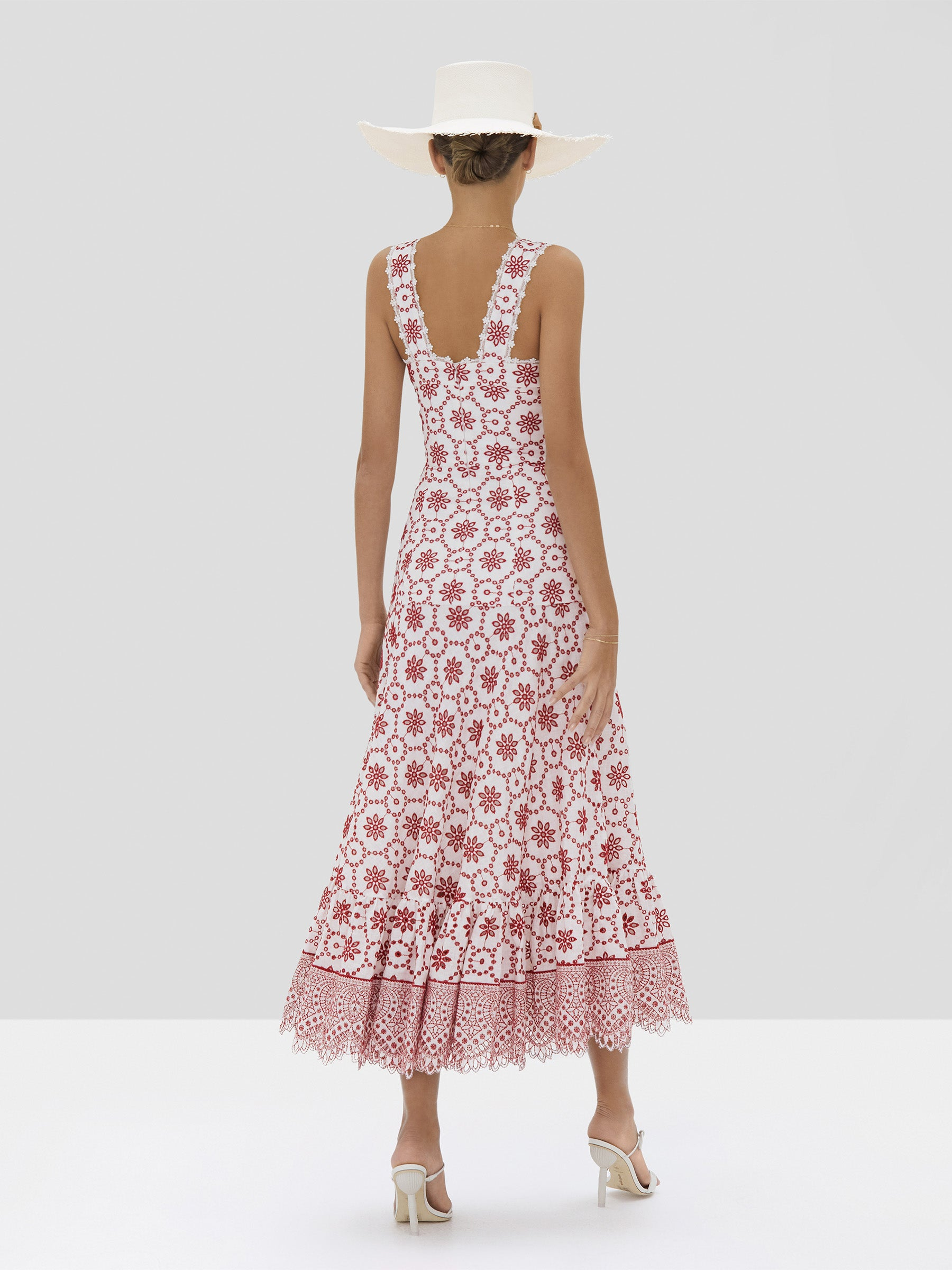 Alexis Eugenia Dress in Berry Eyelet Embroidery from Spring Summer 2020 - Rear View