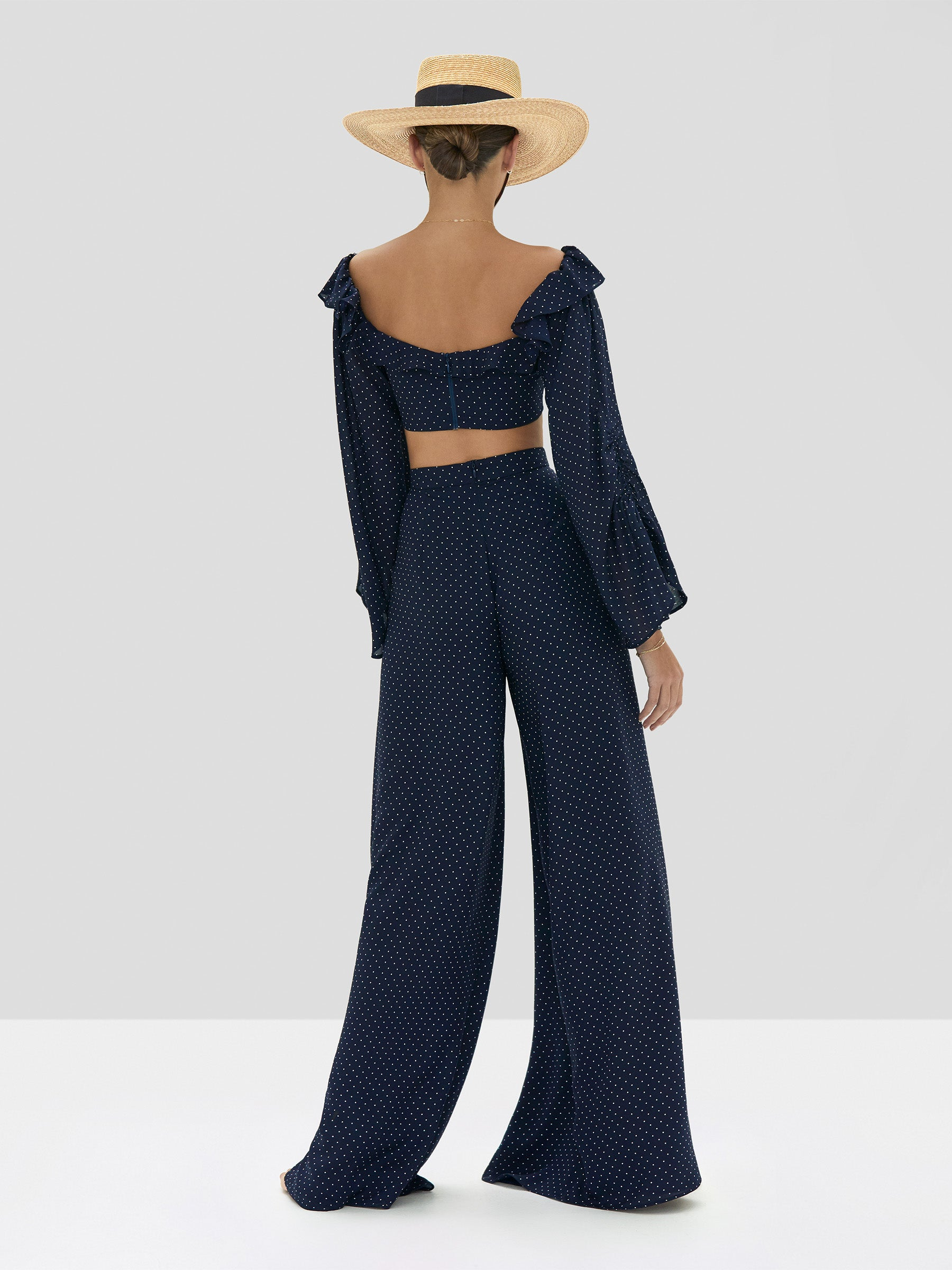 Alexis Ewa Top and Antonin Pant in Navy Dot Linen from Spring Summer 2020 Collection - Rear View