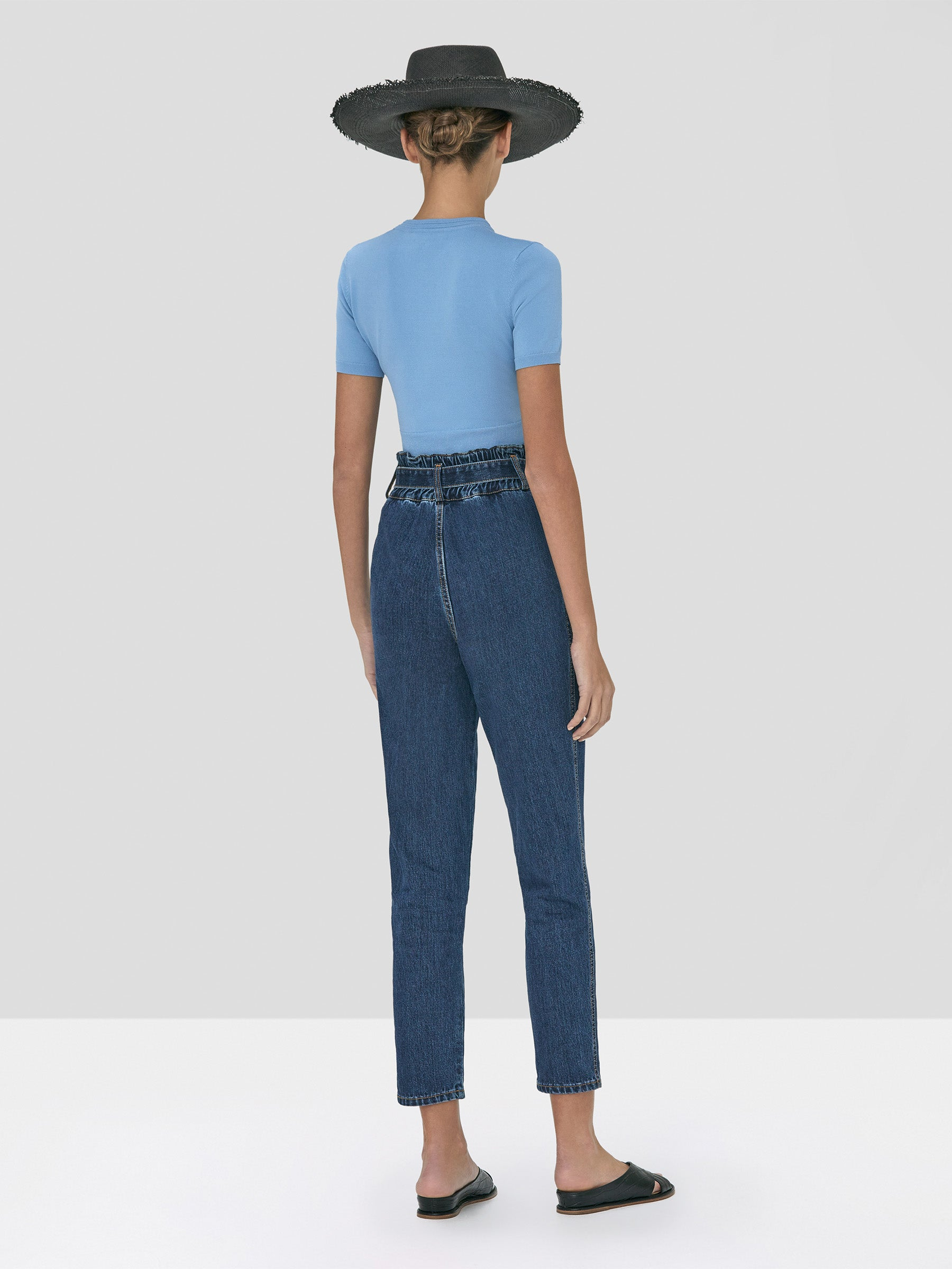 Alexis Finzi Crop Top inBlue and Stannis Denim Pant in Washed Denim from Spring Summer 2020 - Rear View