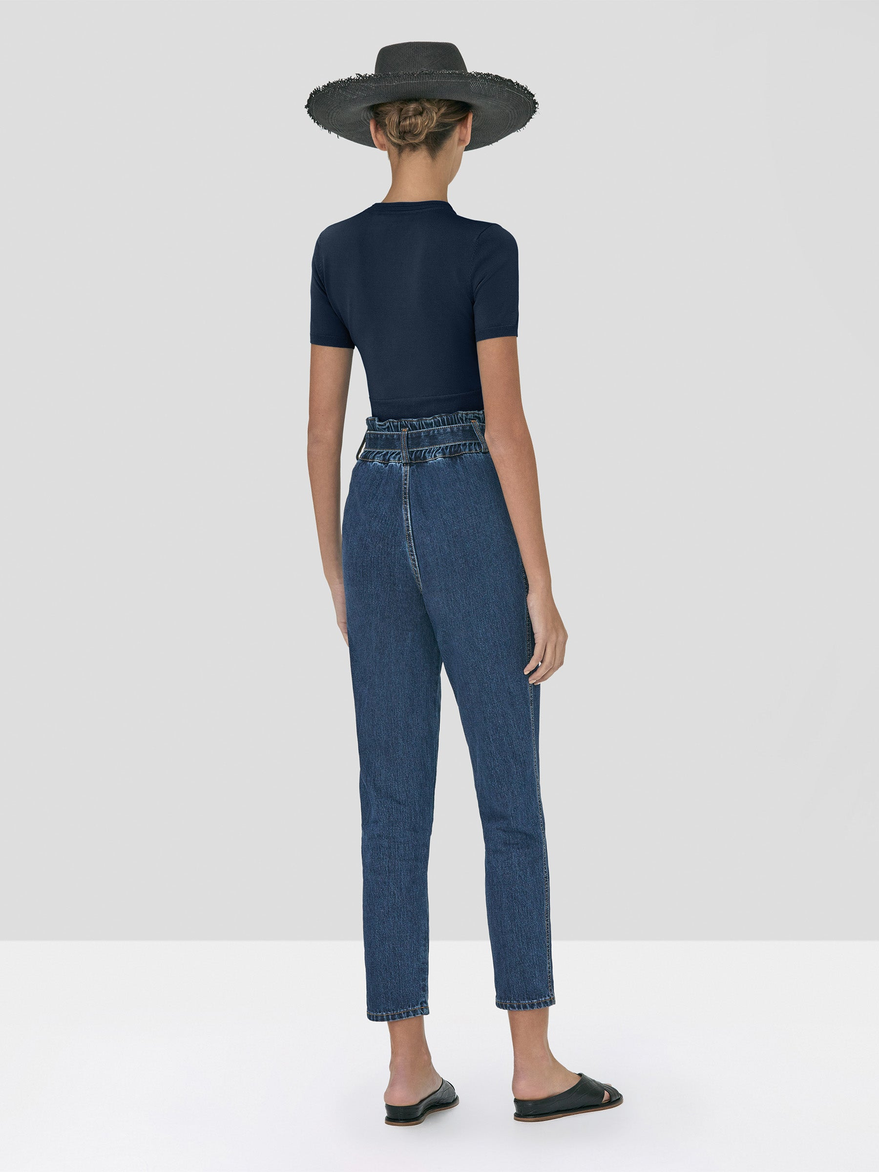 Alexis Finzi Crop Top in Navy and Stannis Denim Pant in Washed Denim from Spring Summer 2020 - Rear View