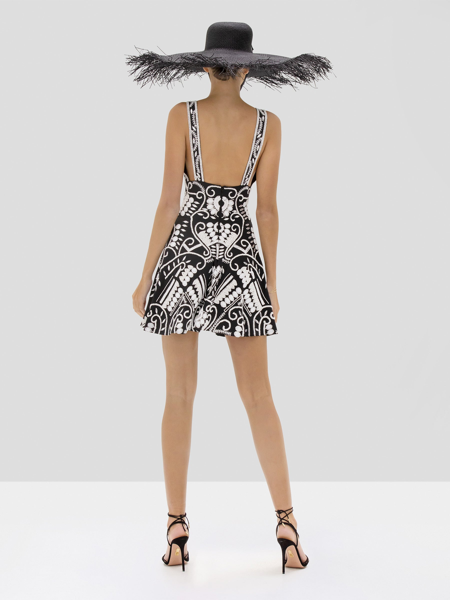 Alexis Jerza Dress in Black and White Embroidery from the Spring Summer 2020 Collection - Rear View