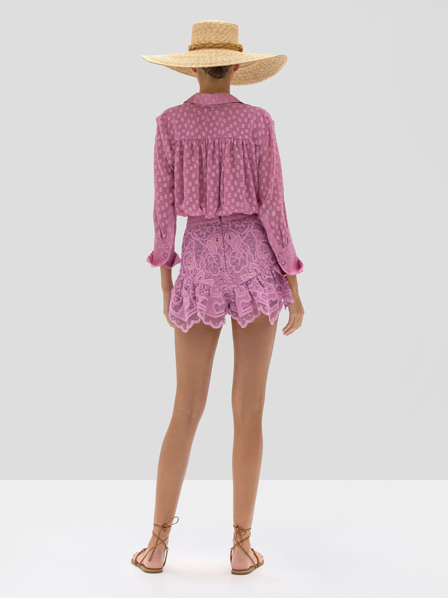Alexis Kaja Top in Lilac Jacquard Dot and Inka Short in Lilac Macrame from Spring Summer 2020 - Rear View