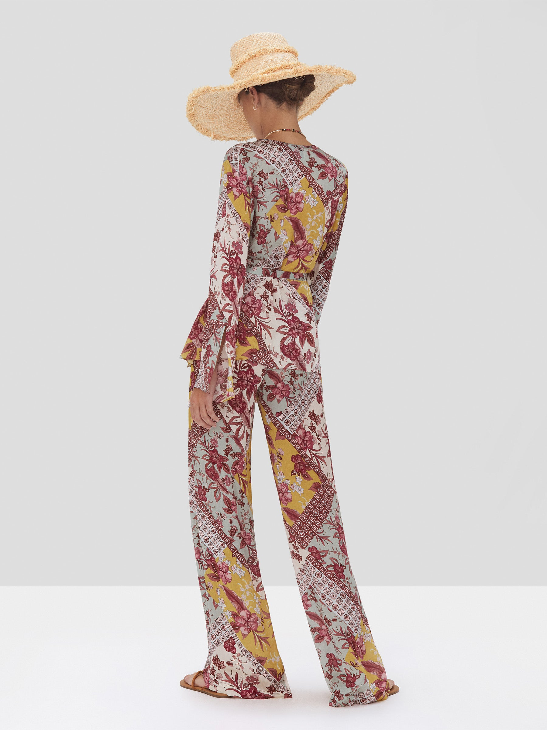 Alexis Kalindi Top and Bozena Pant in Berry Foulard from the Spring Summer 2020 Collection - Rear View