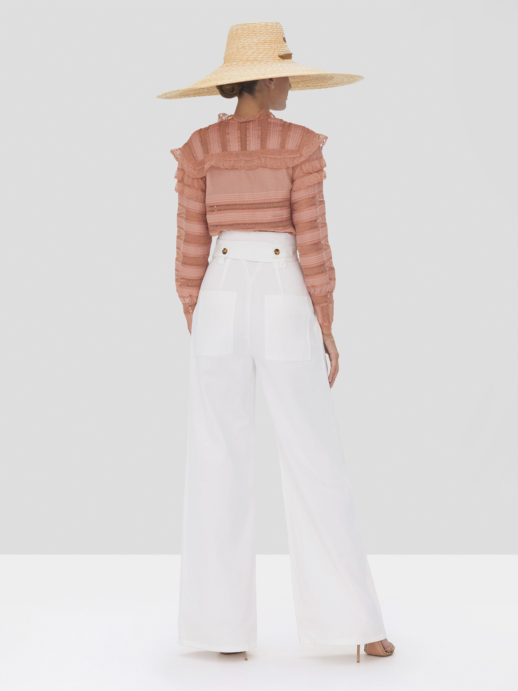 Alexis Karsyn Top in Coral and Kanneth Pant in White from Spring Summer 2020 Collection - Rear View